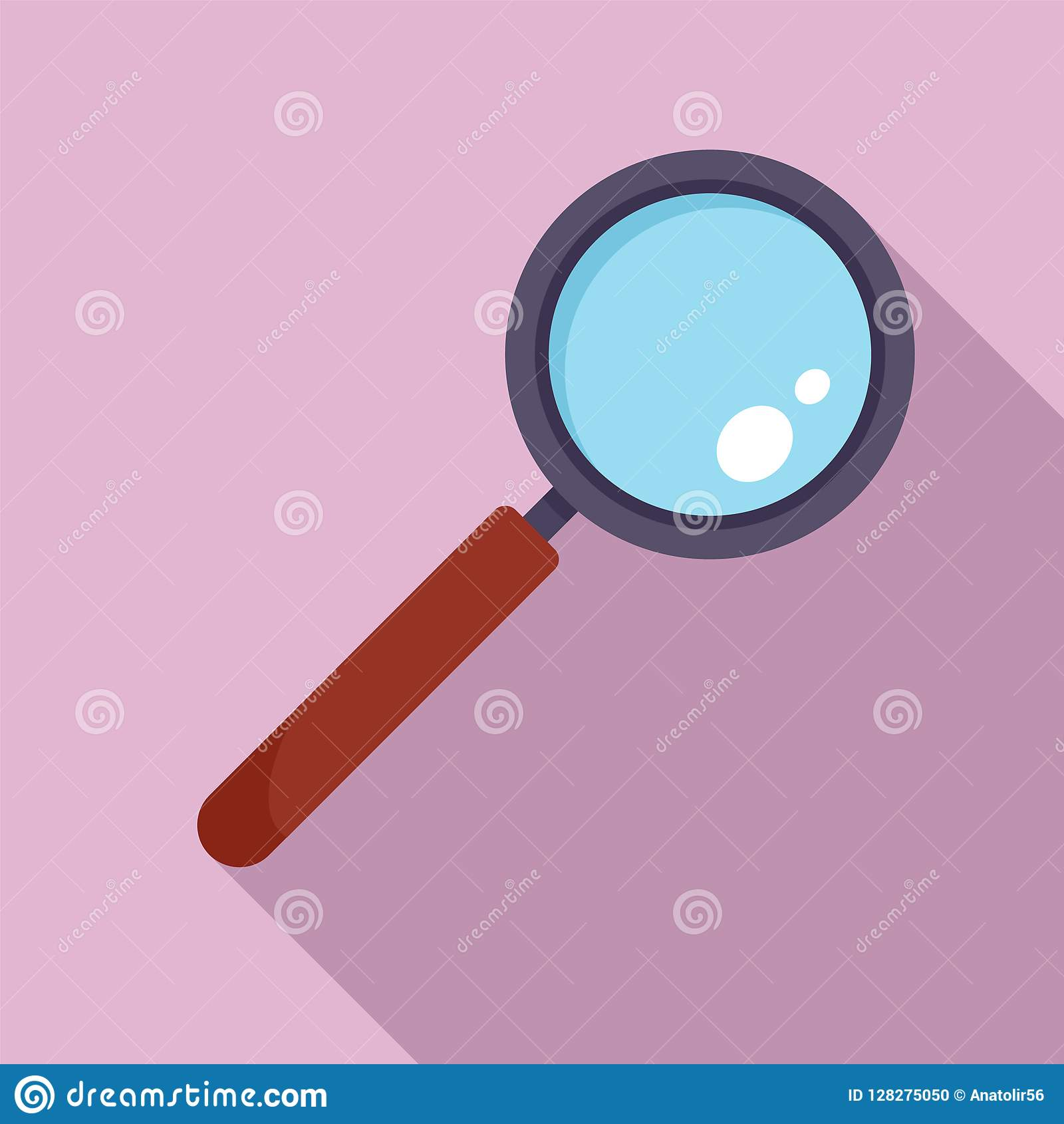 Find Solution Magnify Glass Icon, Flat Style Stock Vector ...