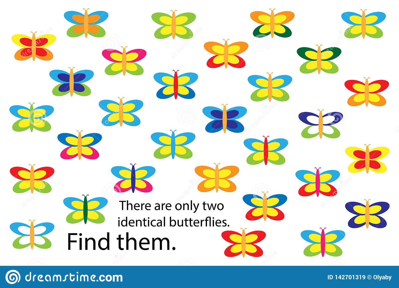Find Two Identical Butterflies, Spring Fun Education Puzzle ...