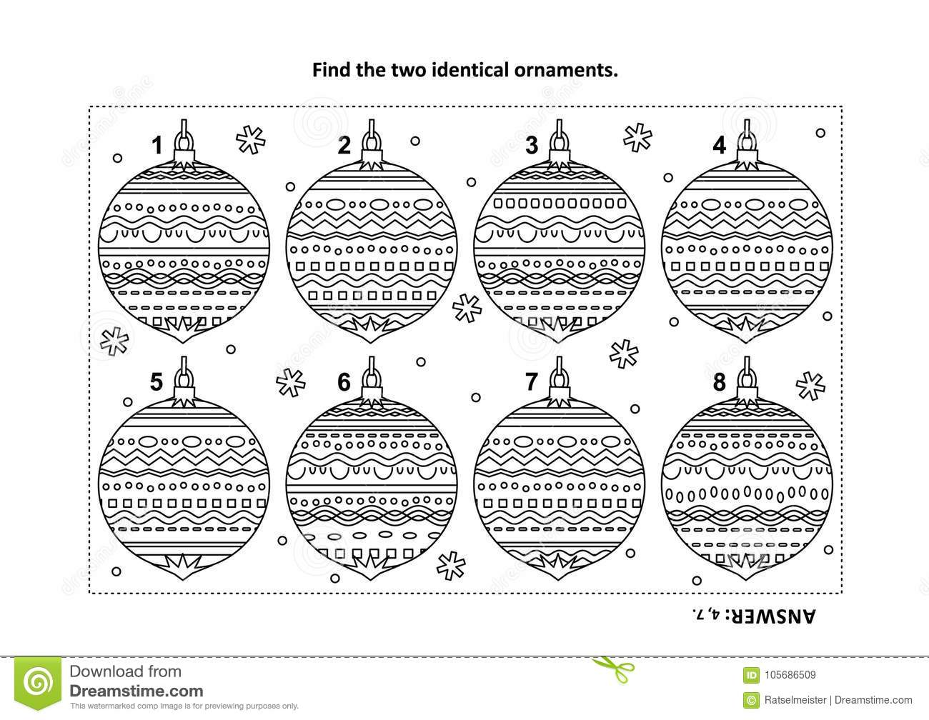 Find The Two Identical Christmas Ornaments Visual Puzzle And