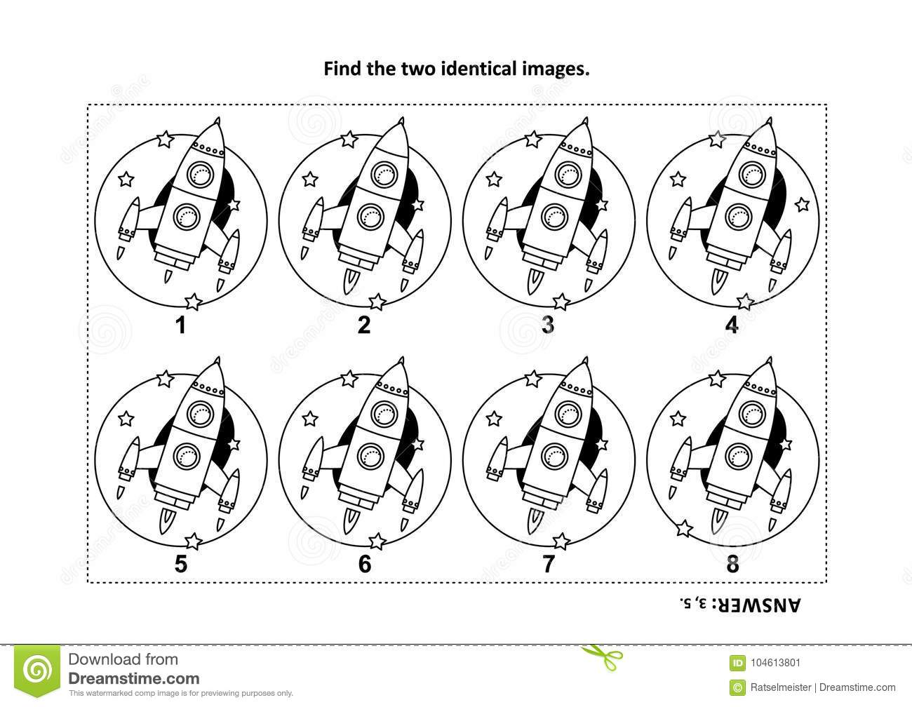 Find The Two Identical Pictures With Rocket Or Spaceship Visual ...