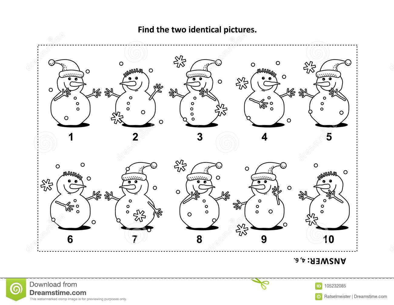 Find The Two Identical Pictures With Snowman Visual Puzzle And
