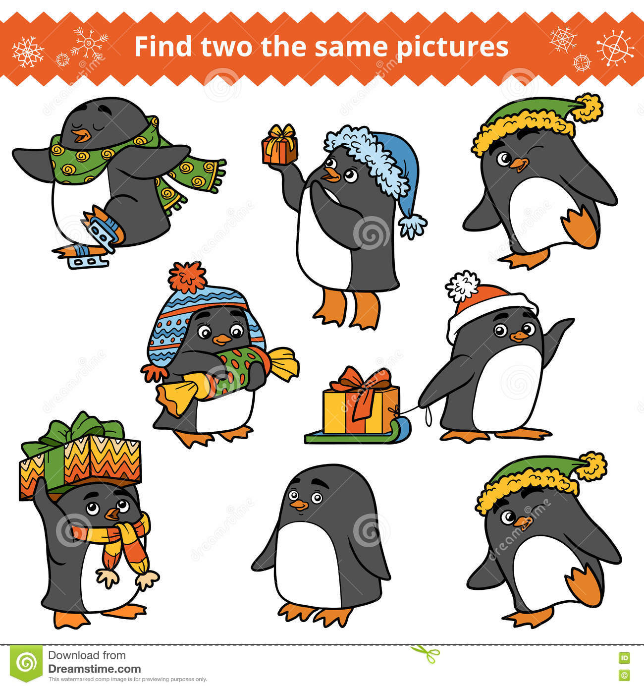 Find Two The Same Pictures, Set Of Penguins Stock Vector ...