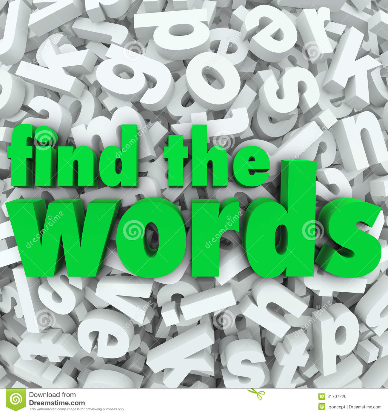 Find the Words in green letters on a background of letter tiles in a ...