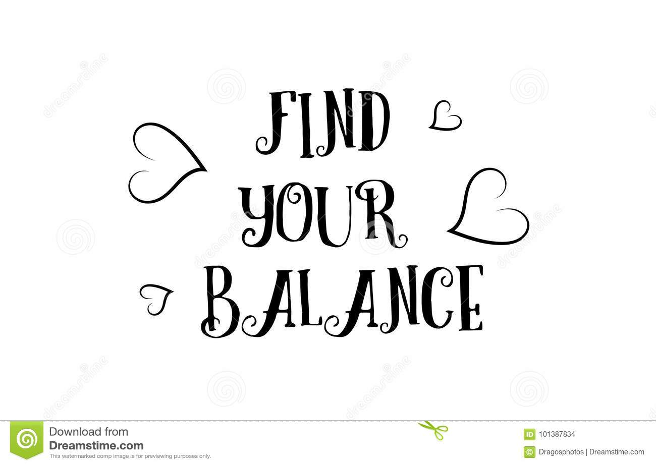 Find Your Balance Love Quote Logo Greeting Card Poster Design Stock