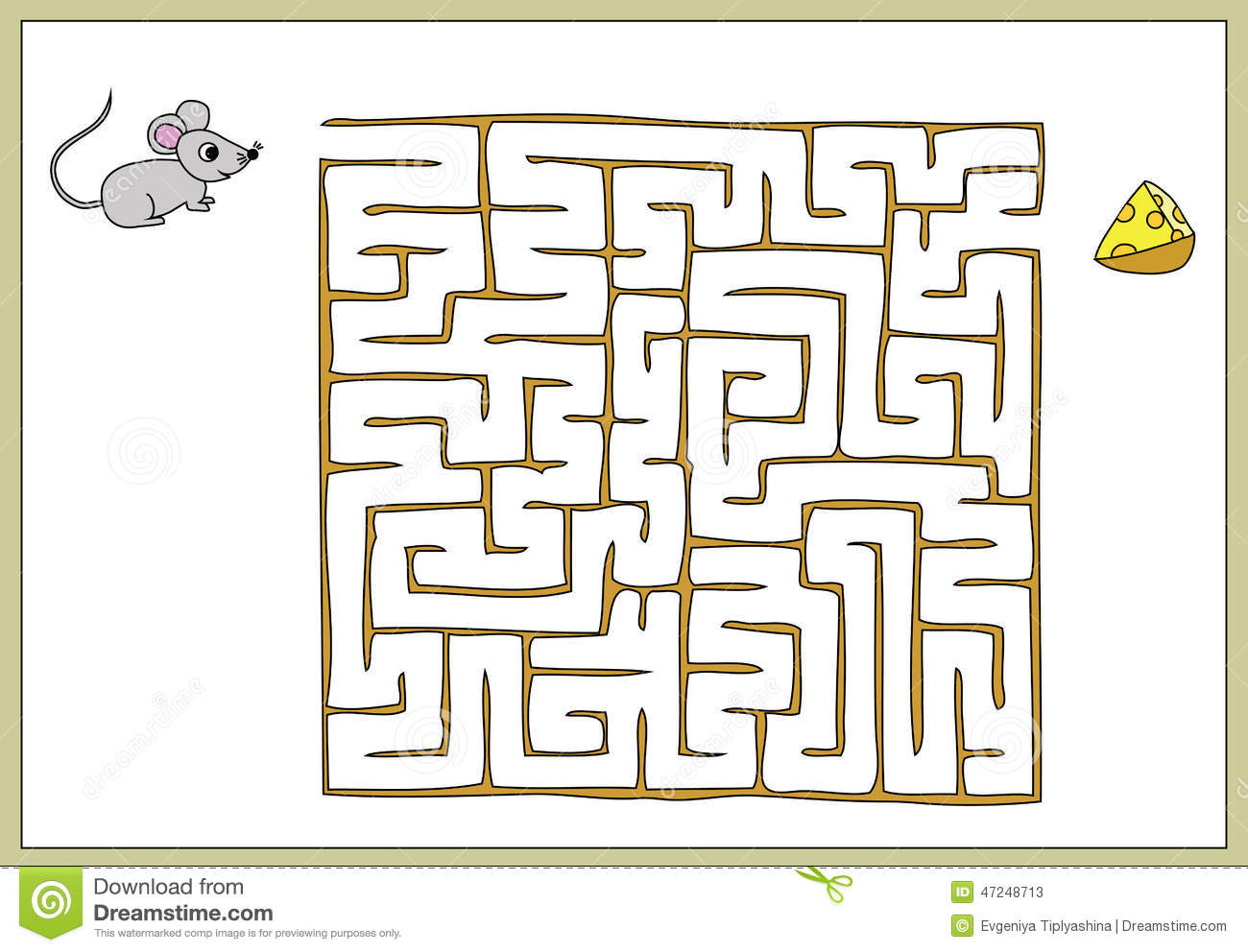 Find Your Way To The Cheese Mouse Stock Vector