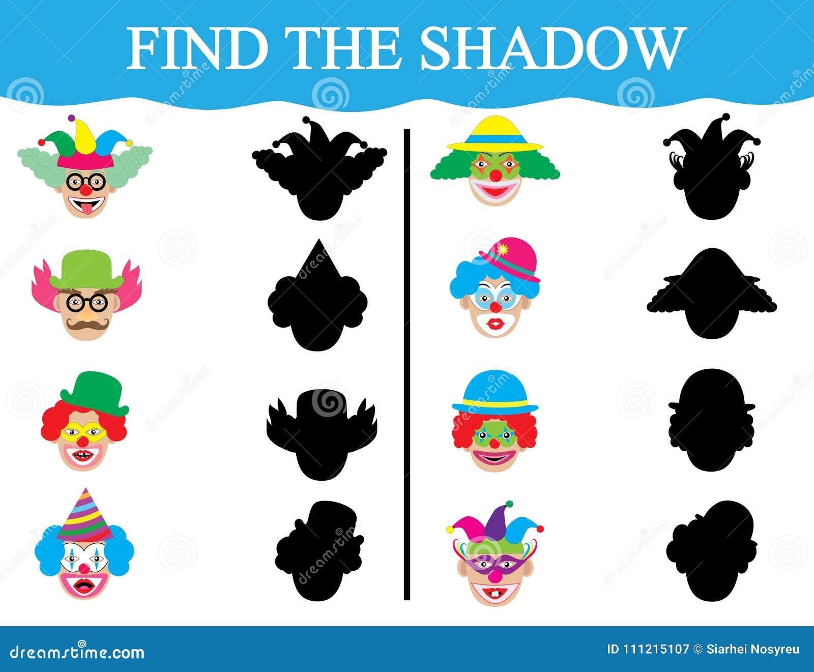 Finden Sie die Schatten von clown's Gesichtern Entwicklung der Aufmerksamkeit der Kinder Ausbildung Auch im corel abgehobenen B