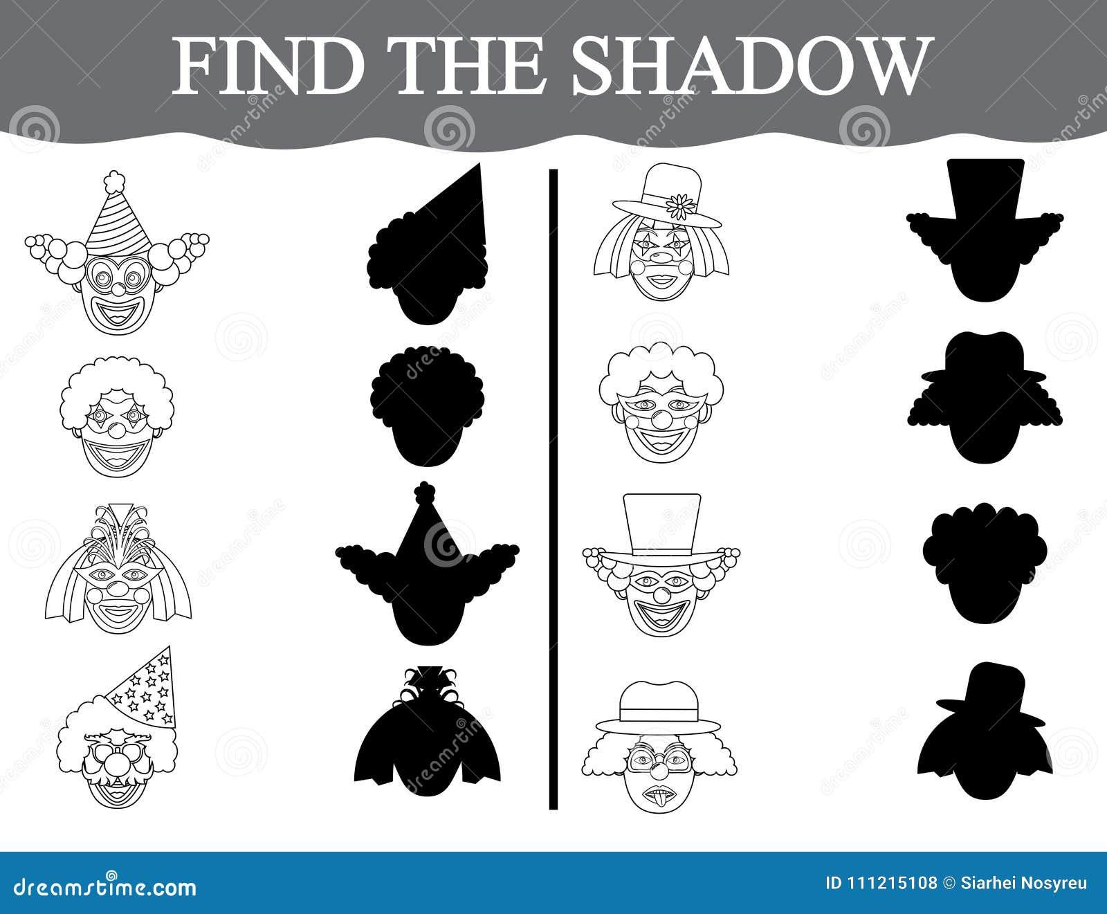 Finden Sie die Schatten von clown's Gesichtern und färben Sie sie Sichtlernspiel für Vorschulkinder