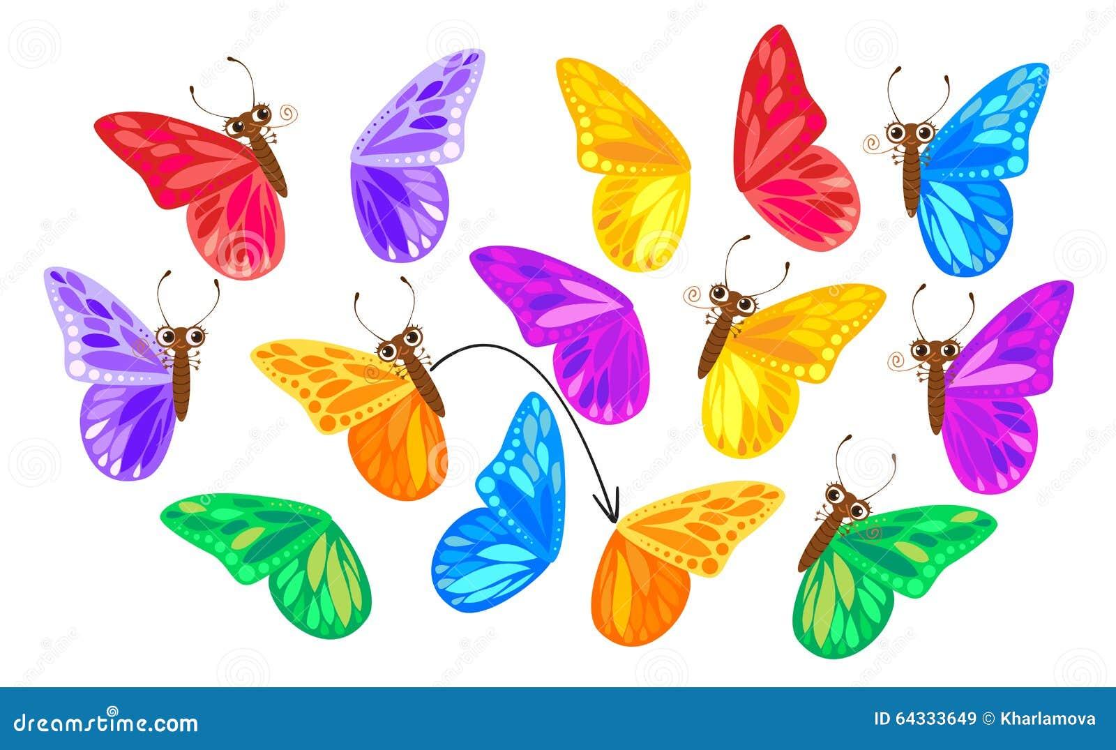 Finden Sie Einen Zweiten Flügel Für Einen Schmetterling Vektor ...