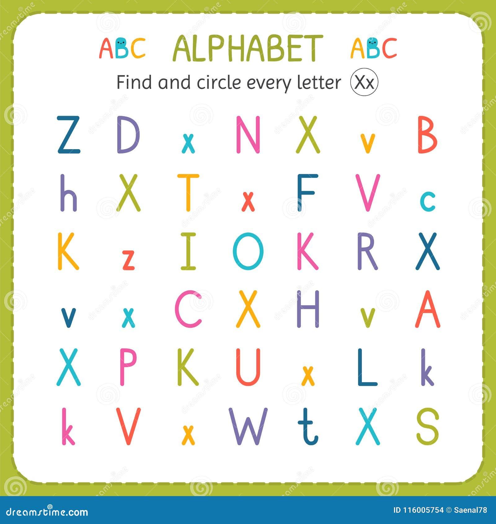 Finden Sie Und Kreisen Sie Jeden Buchstaben X Ein Arbeitsblatt Für ...