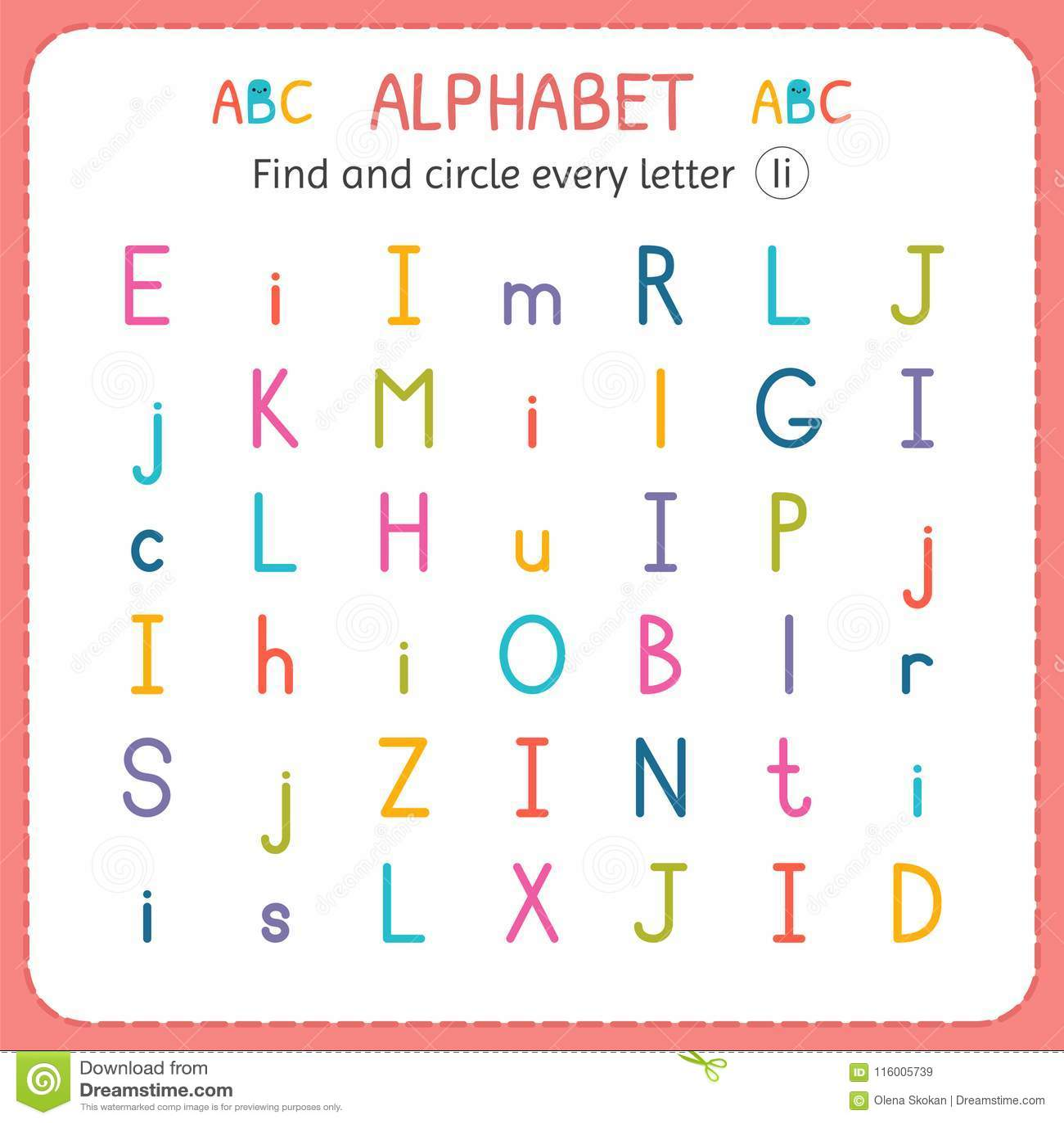 Finden Sie Und Kreisen Sie Jeden Buchstaben I Ein Arbeitsblatt Für ...