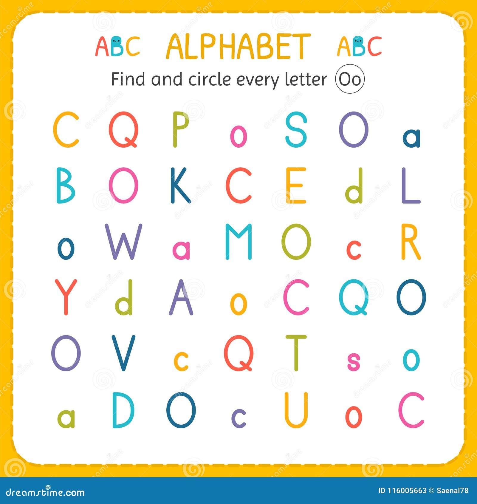 Finden Sie Und Kreisen Sie Jeden Buchstaben O Ein Arbeitsblatt Für