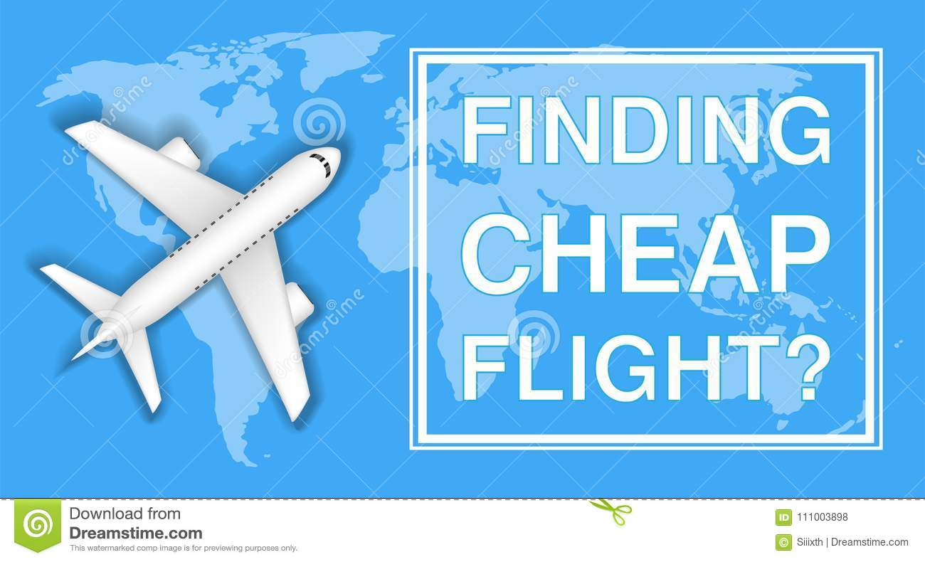 Finding Cheap Flight With Airplane On World Map Stock Vector