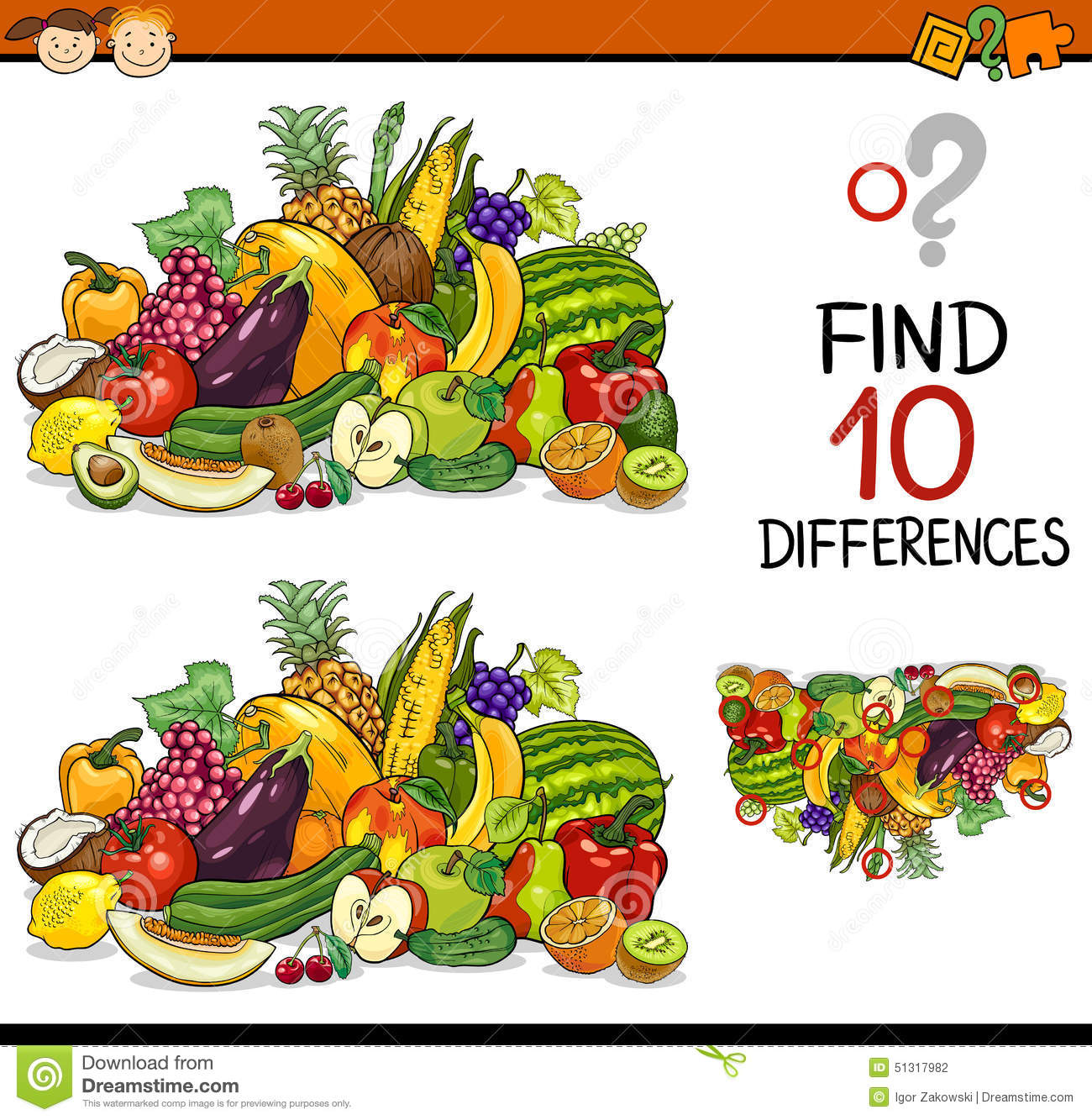 Finding Differences Game Cartoon Stock Vector - Illustration of ...