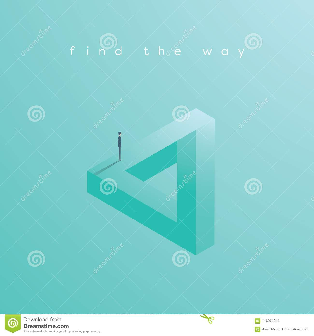 Finding Solution Business Vector Concept With Businessman Standing