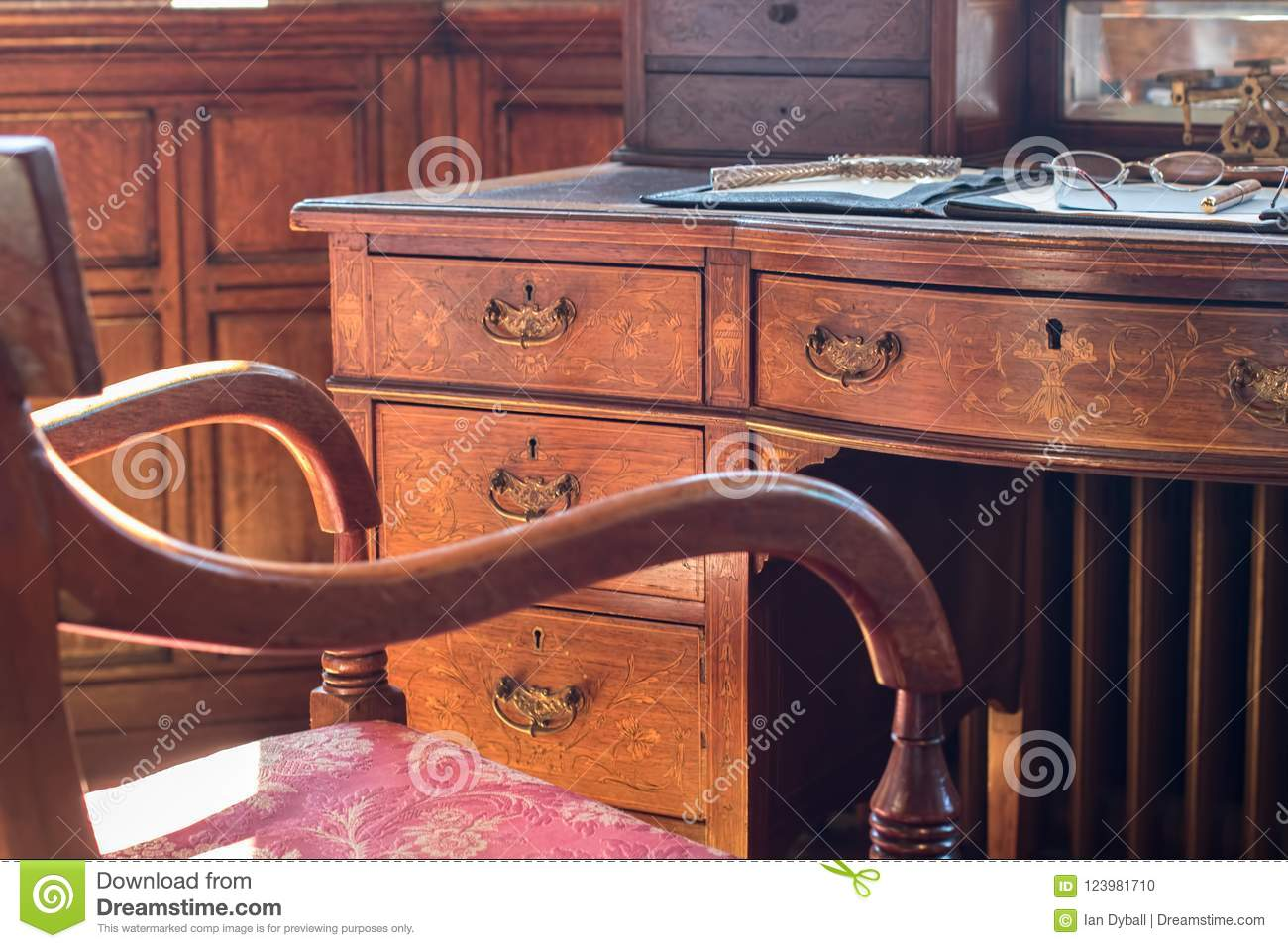 Download Fine Antique Pedestal Writing Desk. Studying History And Period  Stock Photo - Image of - Fine Antique Pedestal Writing Desk. Studying History And Period