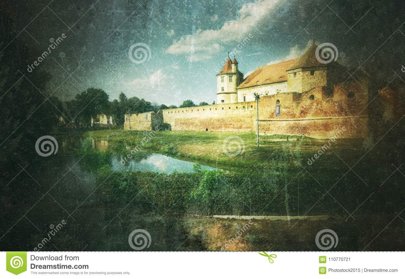 Fine art graphic illustration with Fagaras Fortress