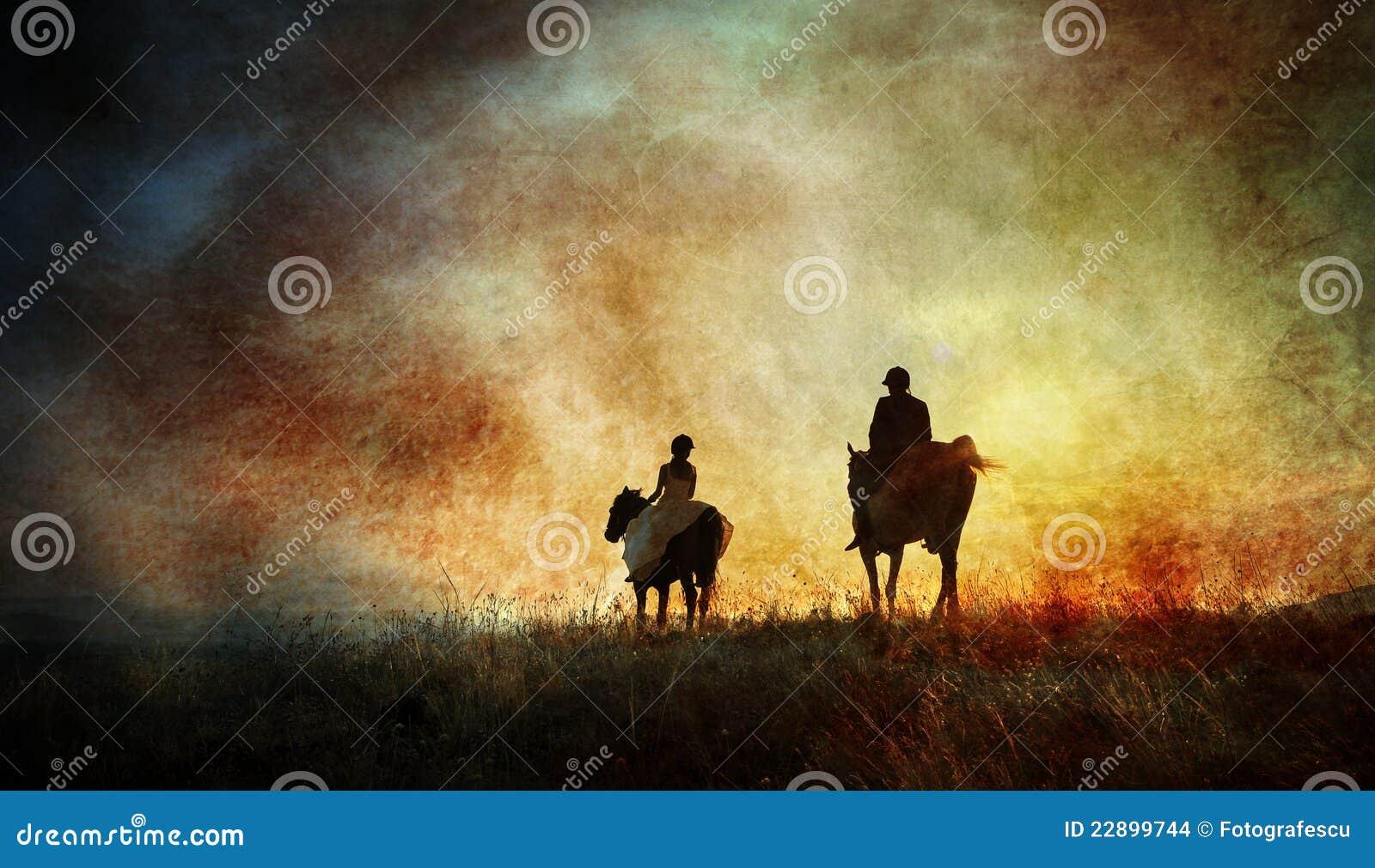 Fine art horse riders silhouette
