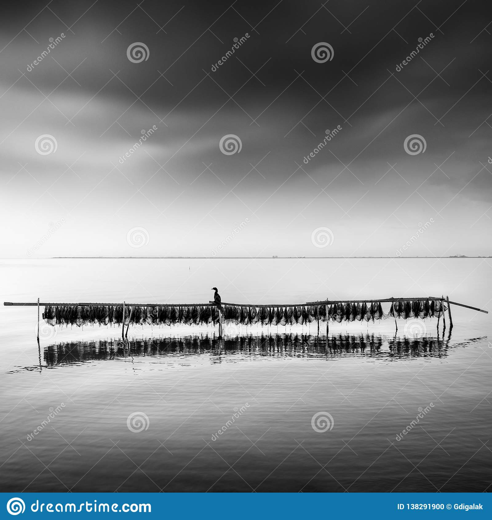 Minimal seascape with fishing nets