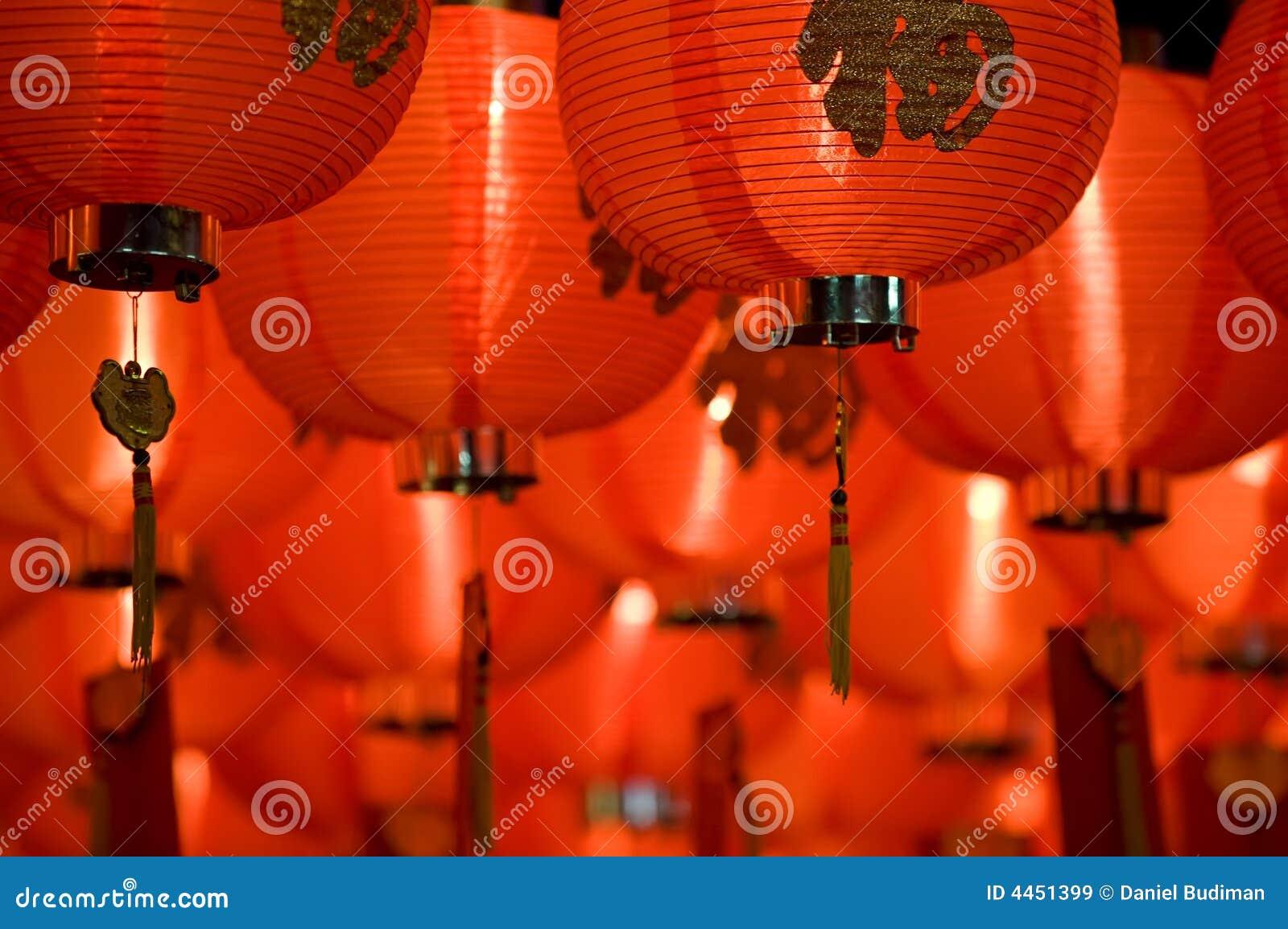 Fine cinese della lanterna di carta in su
