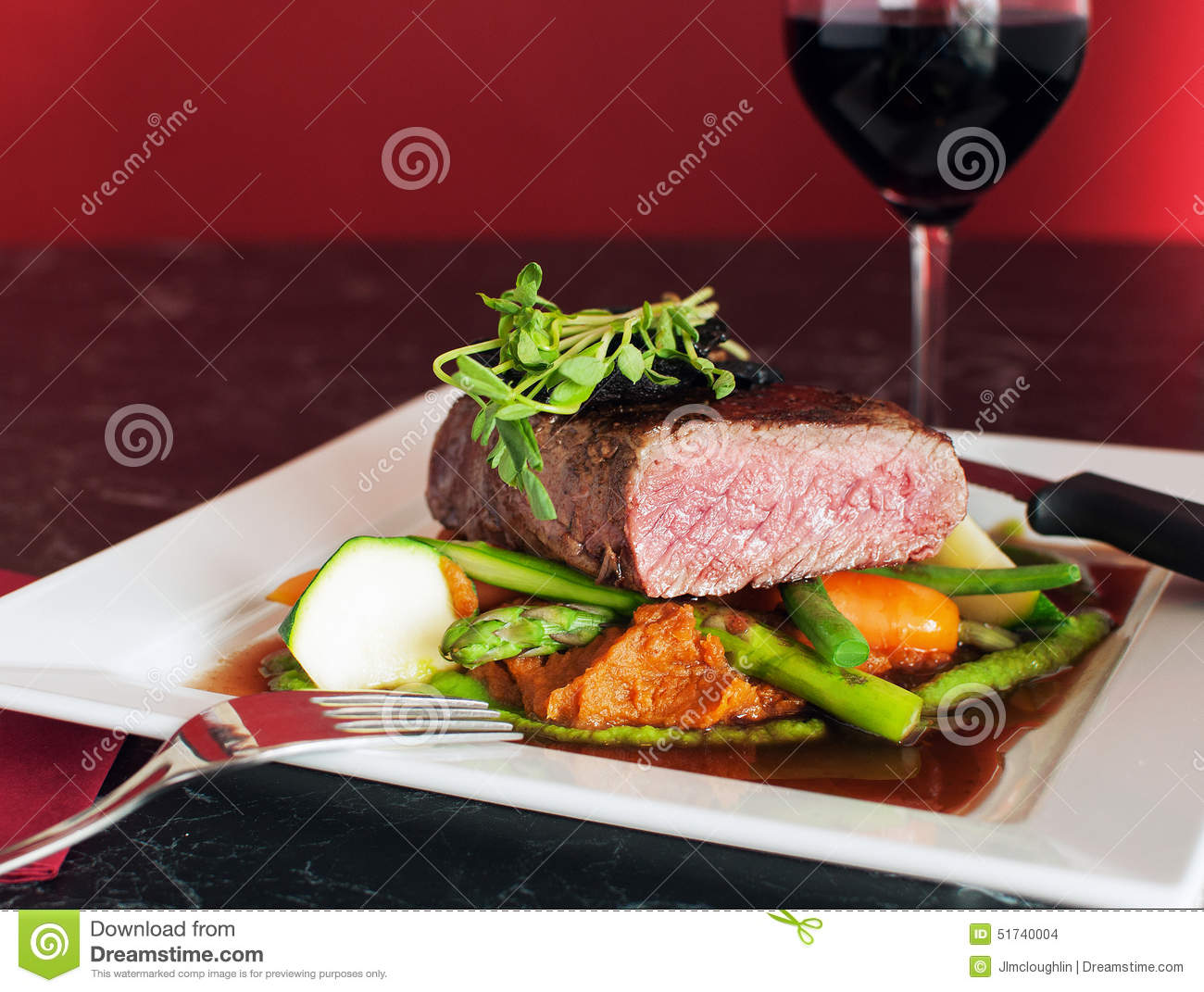 Fine Dining Beef Steak With Vegetables Stock Photo - Image ...