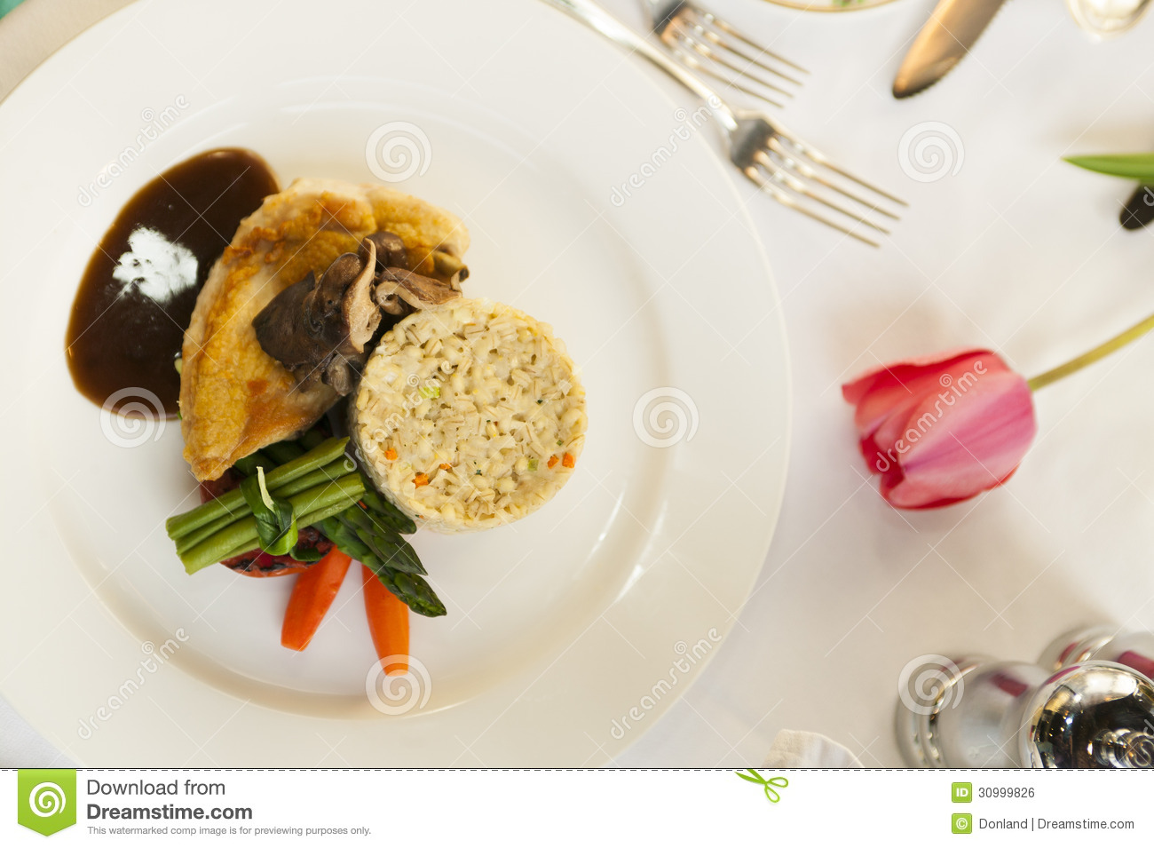 Fine Dining Chicken Dinner Royalty Free Stock Image