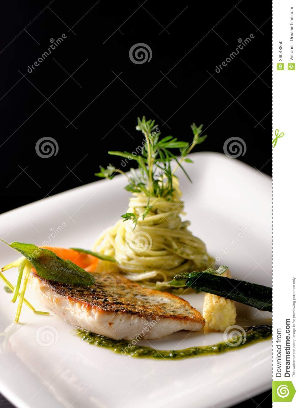 Fine Dining Fish Fillet Stock Photo Image 36048850