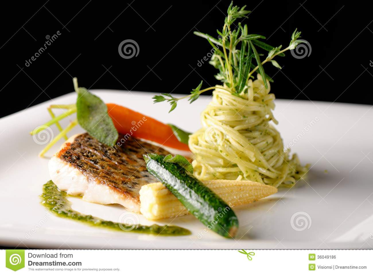 Fine Dining Fish Fillet Royalty Free Stock Image