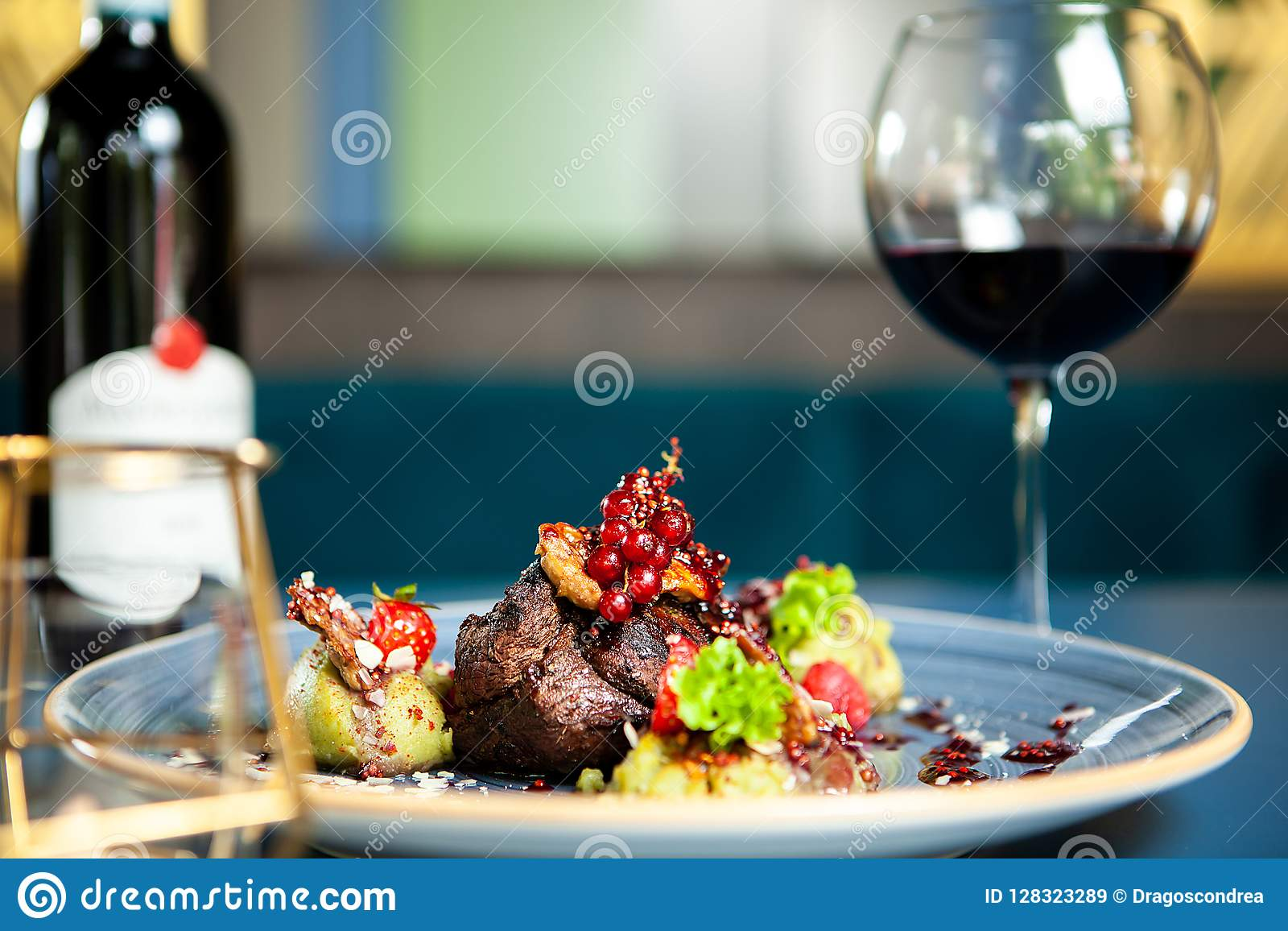 Fine Dining Grilled Steak With Vegetables Stock Image ...