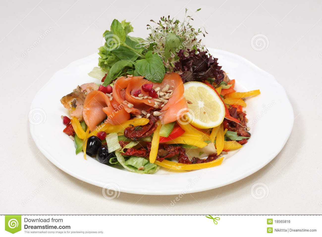 Fine Dining Meal Smoked Salmon Royalty Free Stock Image