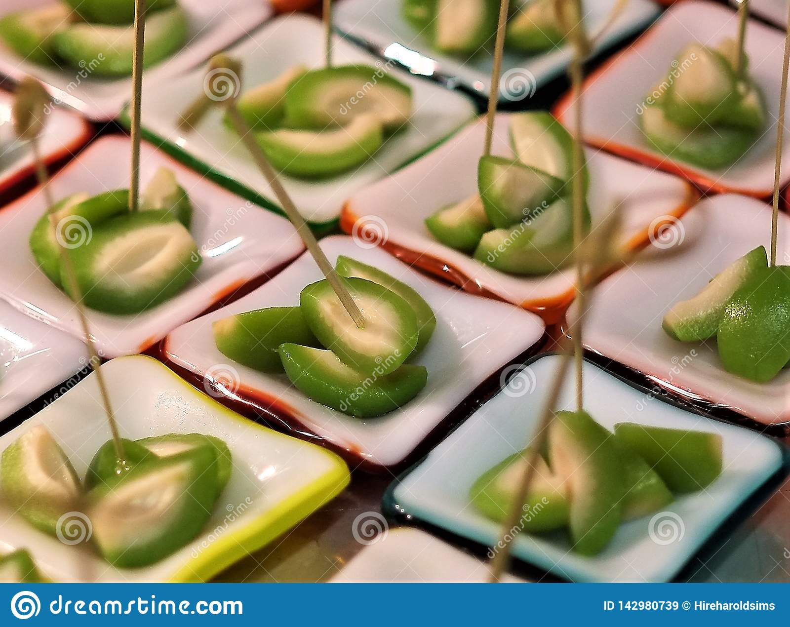 Fine dining olives appetizer pitted