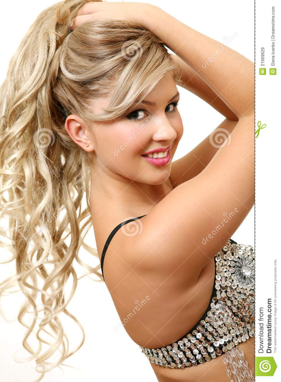 image Young blonde teen with amazing body bates with her deo spray