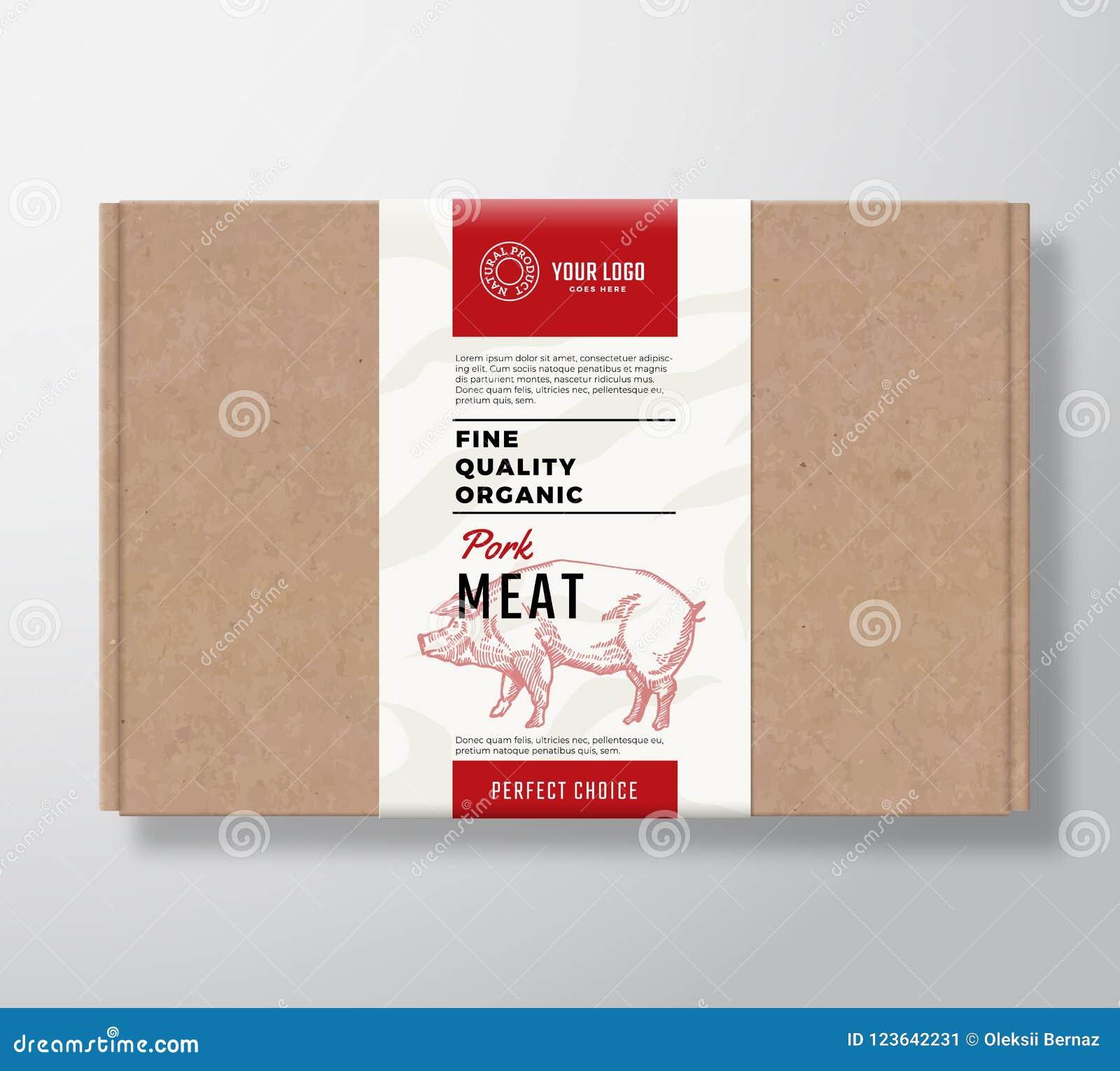 Fine Quality Organic Pork Craft Cardboard Box Abstract Vector Meat