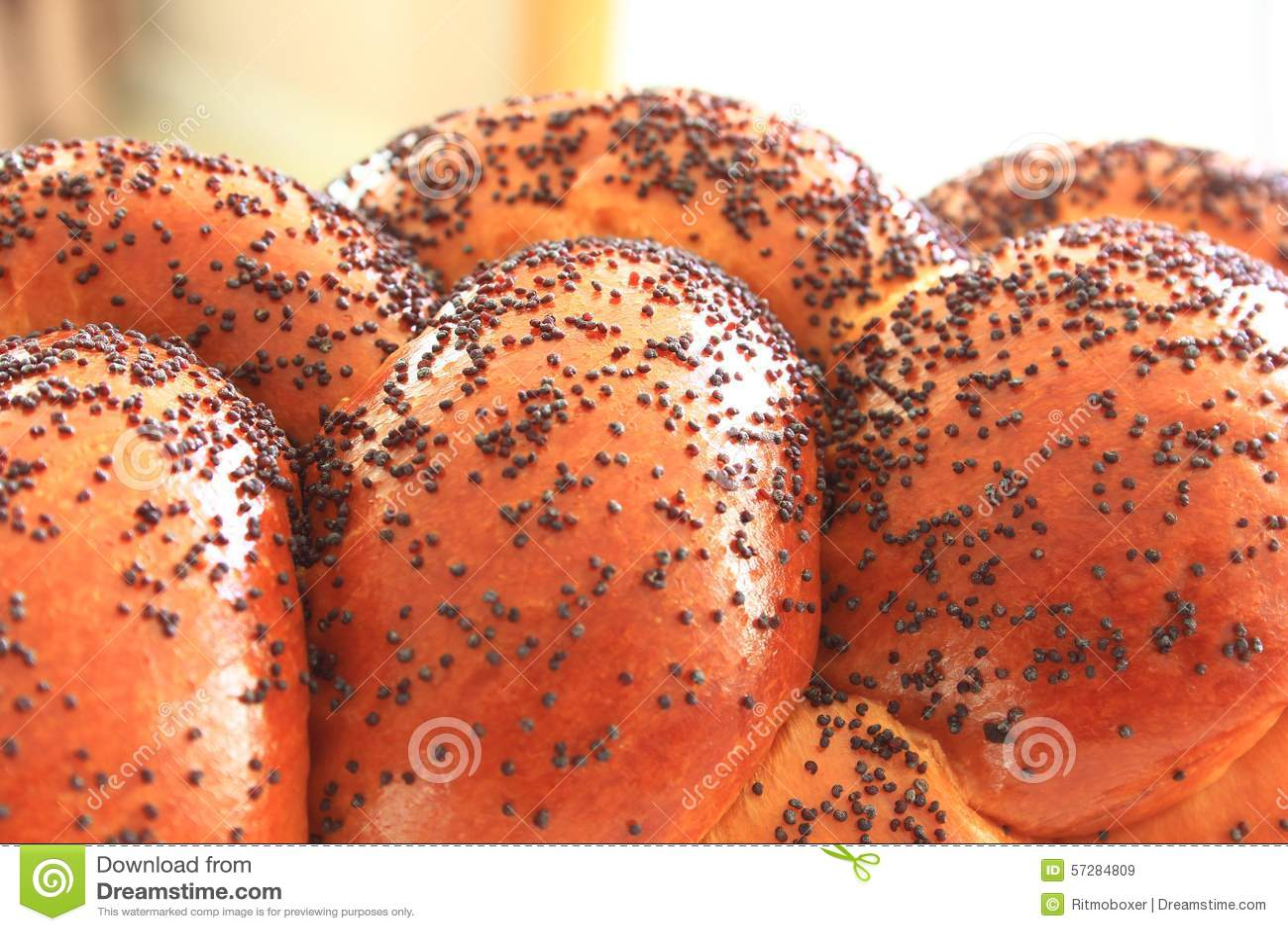 Fine su del pane del Challah Braided con Poppy Seeds