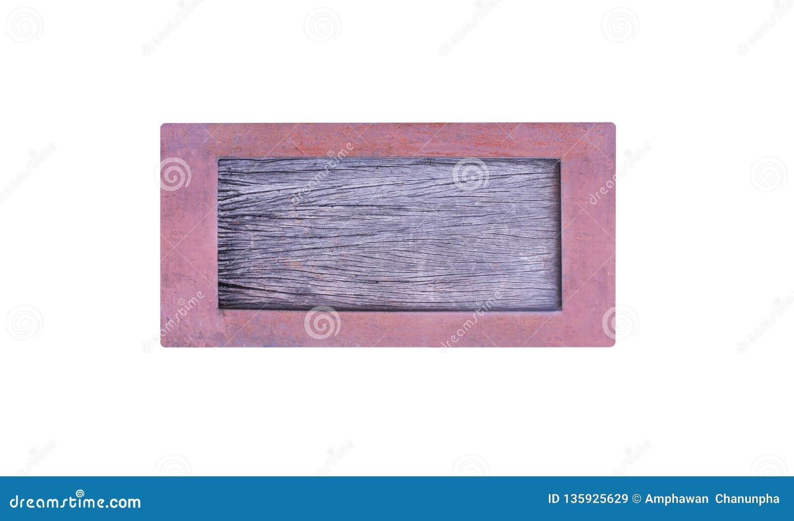 Fine su vecchia struttura di legno vuota del segno nel telaio arrugginito del metallo