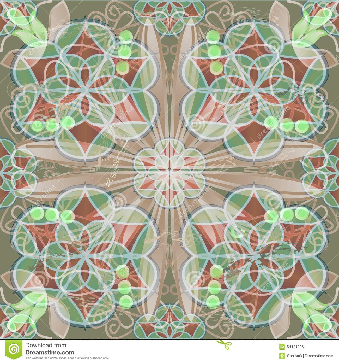 fine tile in art deco style with lace patterns in red and green