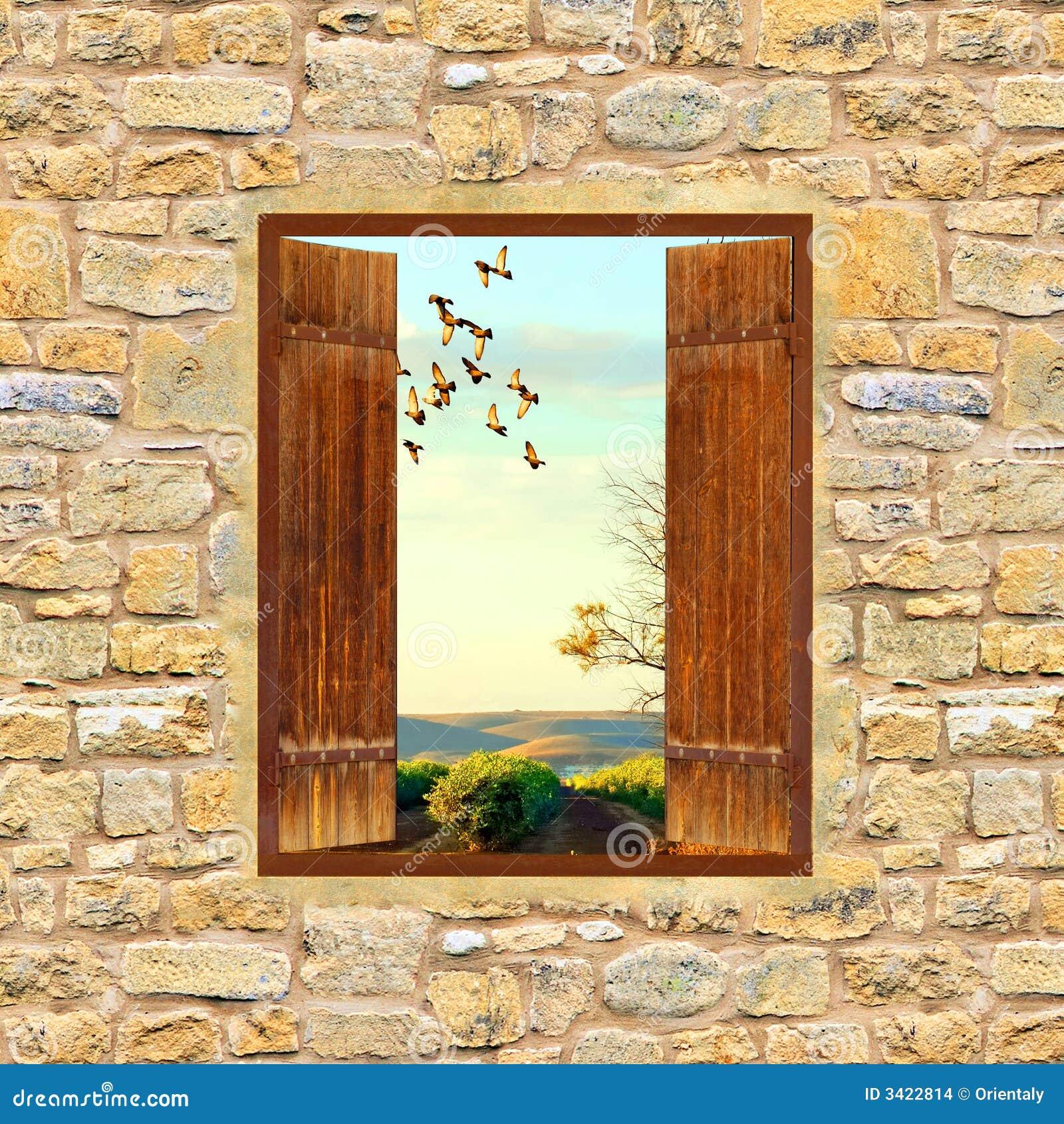 Finestra aperta fotografia stock immagine di vecchio for Finestra antica aperta