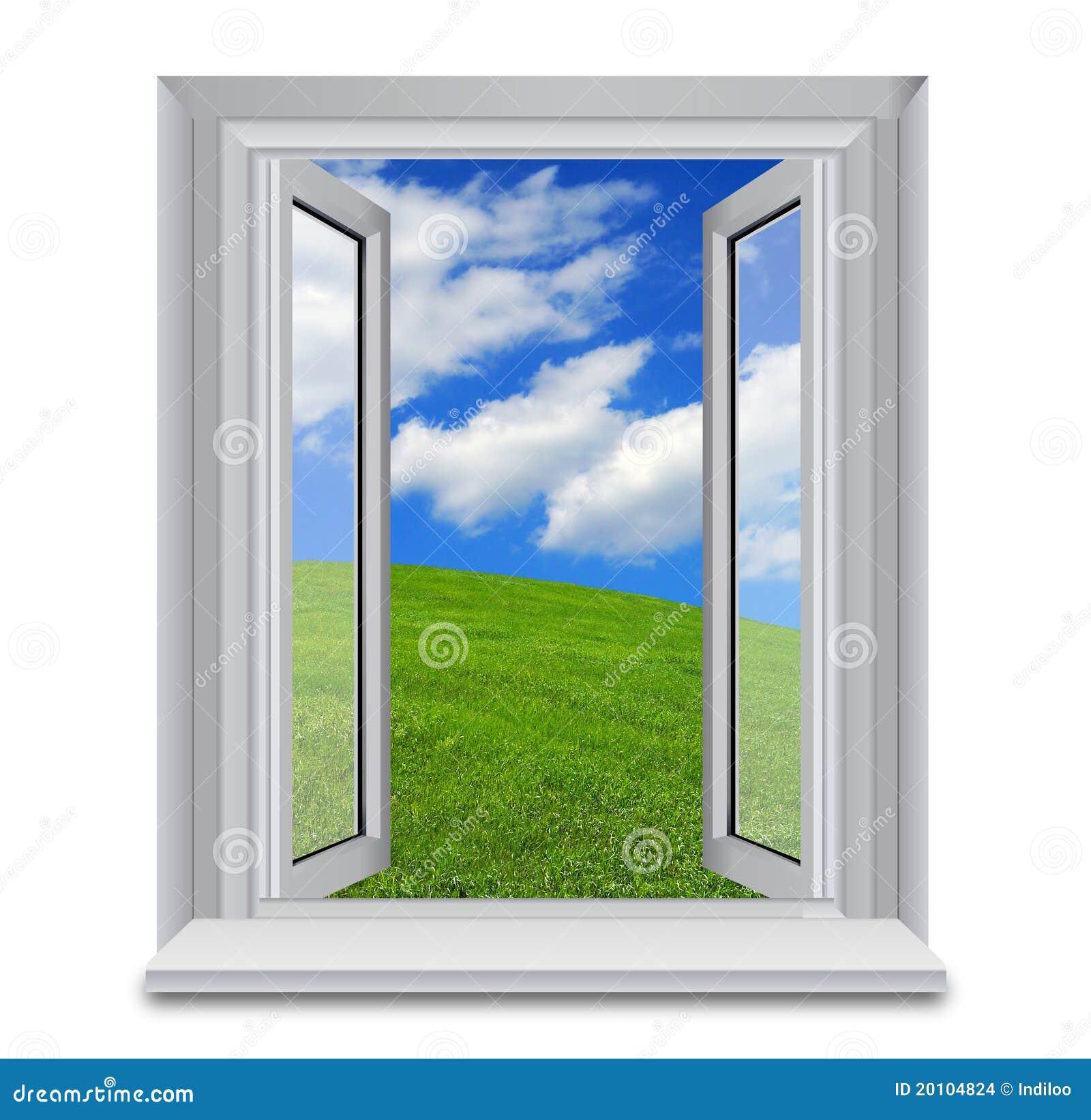 Finestra aperta ai cieli blu immagini stock immagine for Finestra immagini