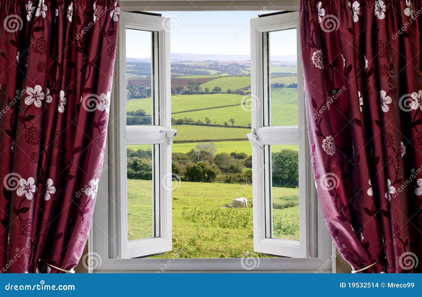 Finestra aperta con una vista rurale fotografia stock for Disegno di finestra aperta