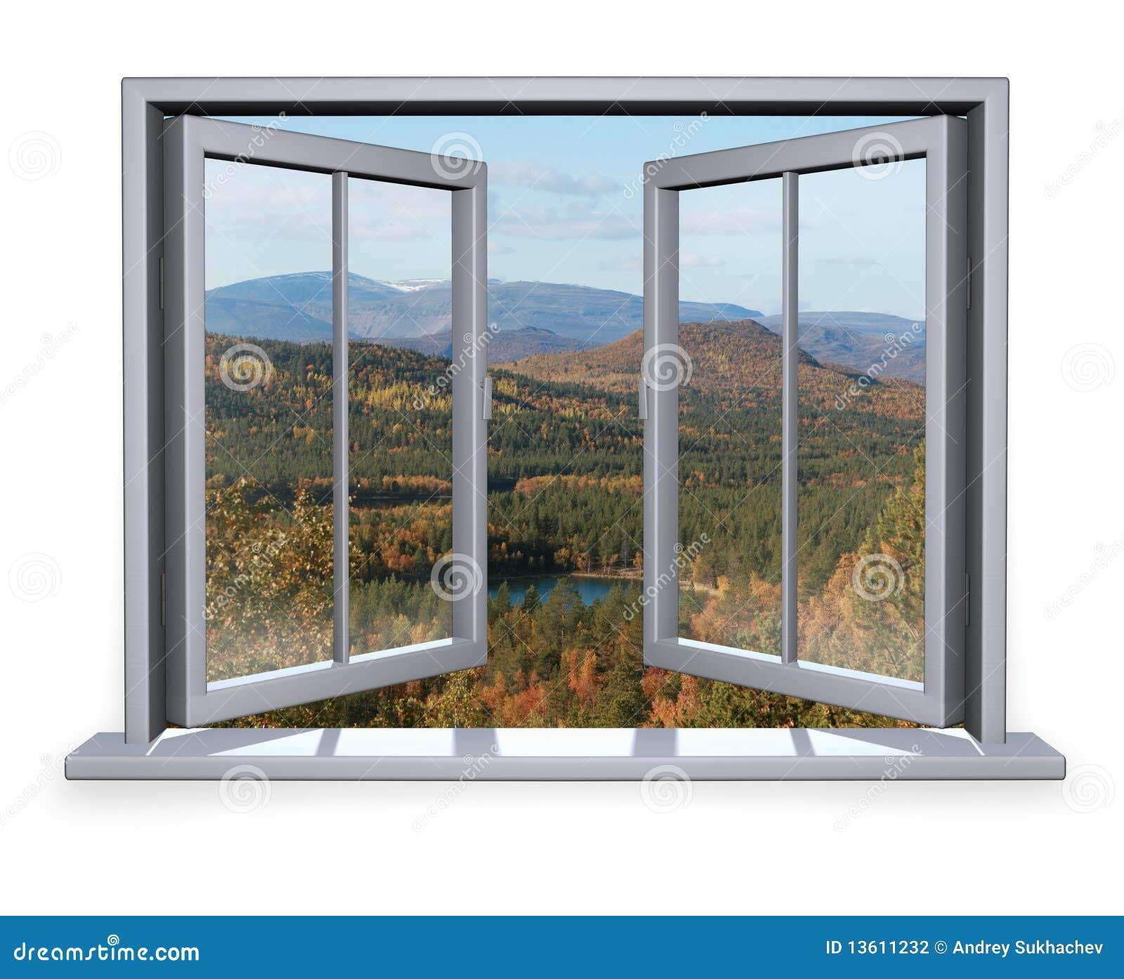 Finestra aperta con vista alla montagna fotografia stock immagine 13611232 - La finestra biz ...