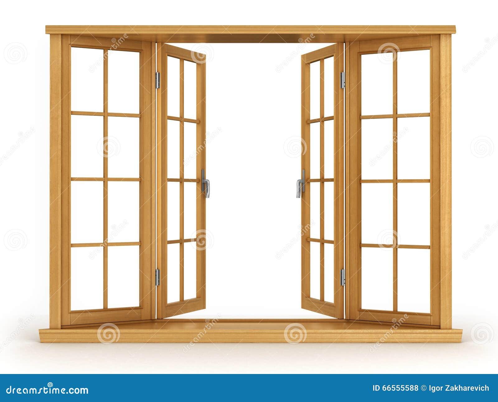 Finestra aperta di legno illustrazione di stock immagine 66555588 - Finestre in legno prezzi ...