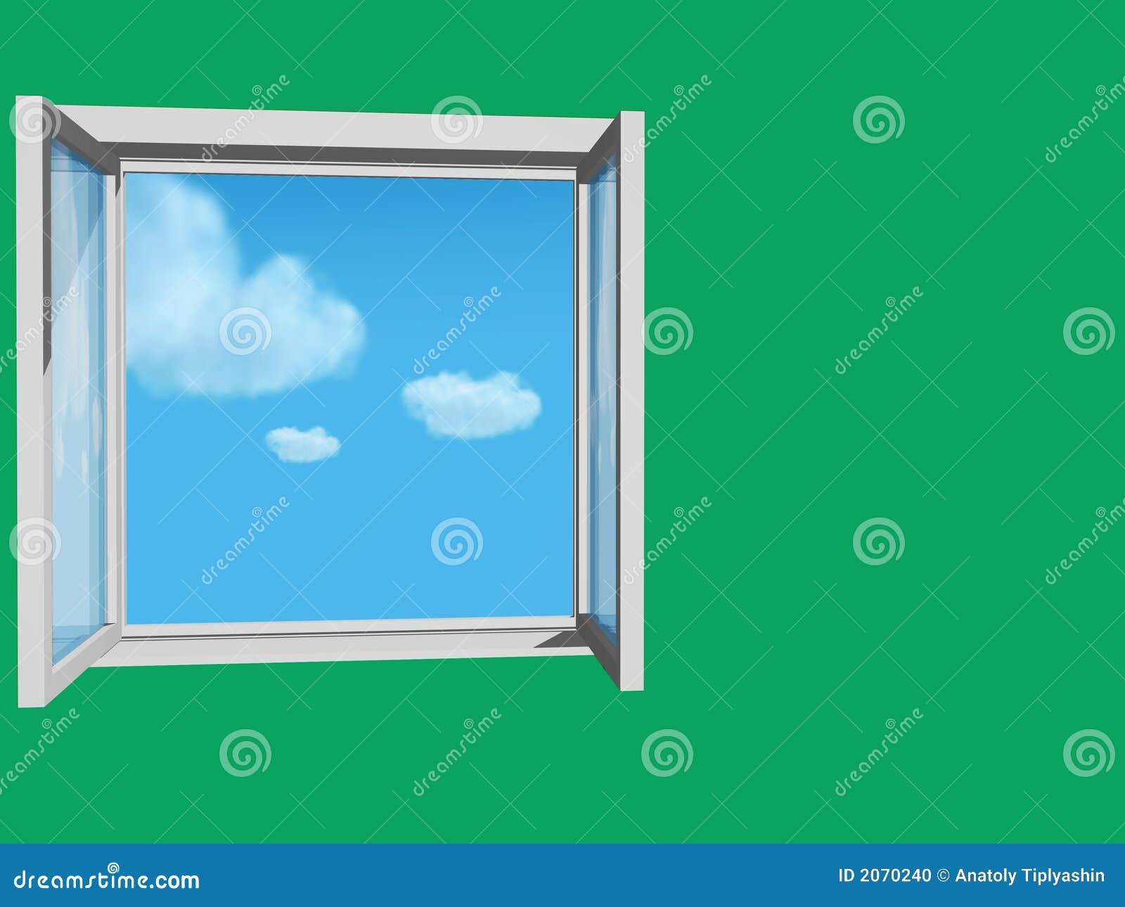 Finestra aperta in parete verde fotografia stock for Finestra antica aperta
