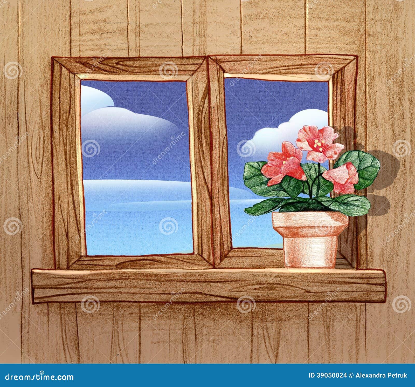 Finestra con i vasi da fiori illustrazione di stock illustrazione di matita foglio 39050024 - Fiori da finestra ...