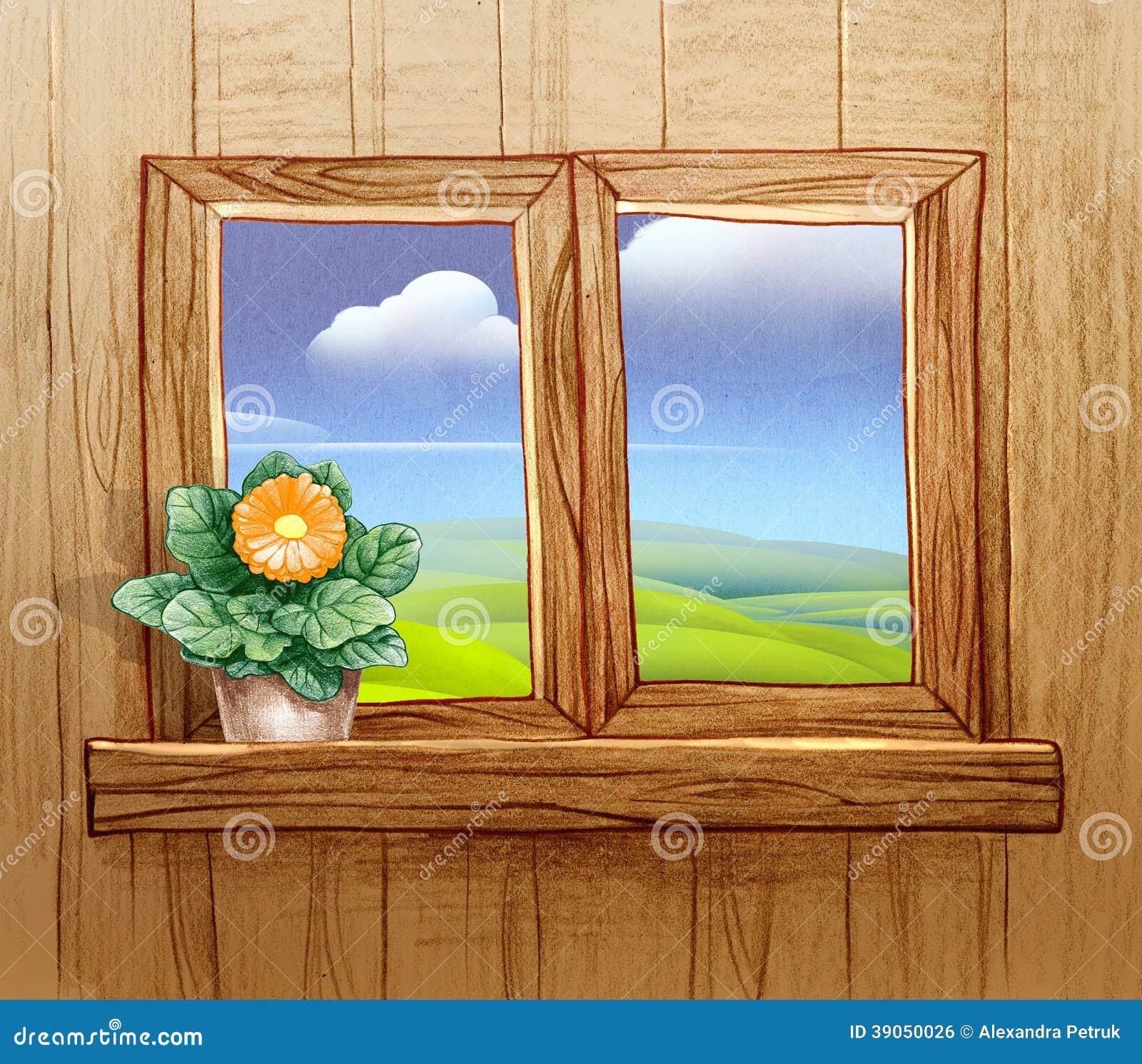 Finestra con i vasi da fiori illustrazione di stock illustrazione di bianco sbocciare 39050026 - Fiori da finestra ...