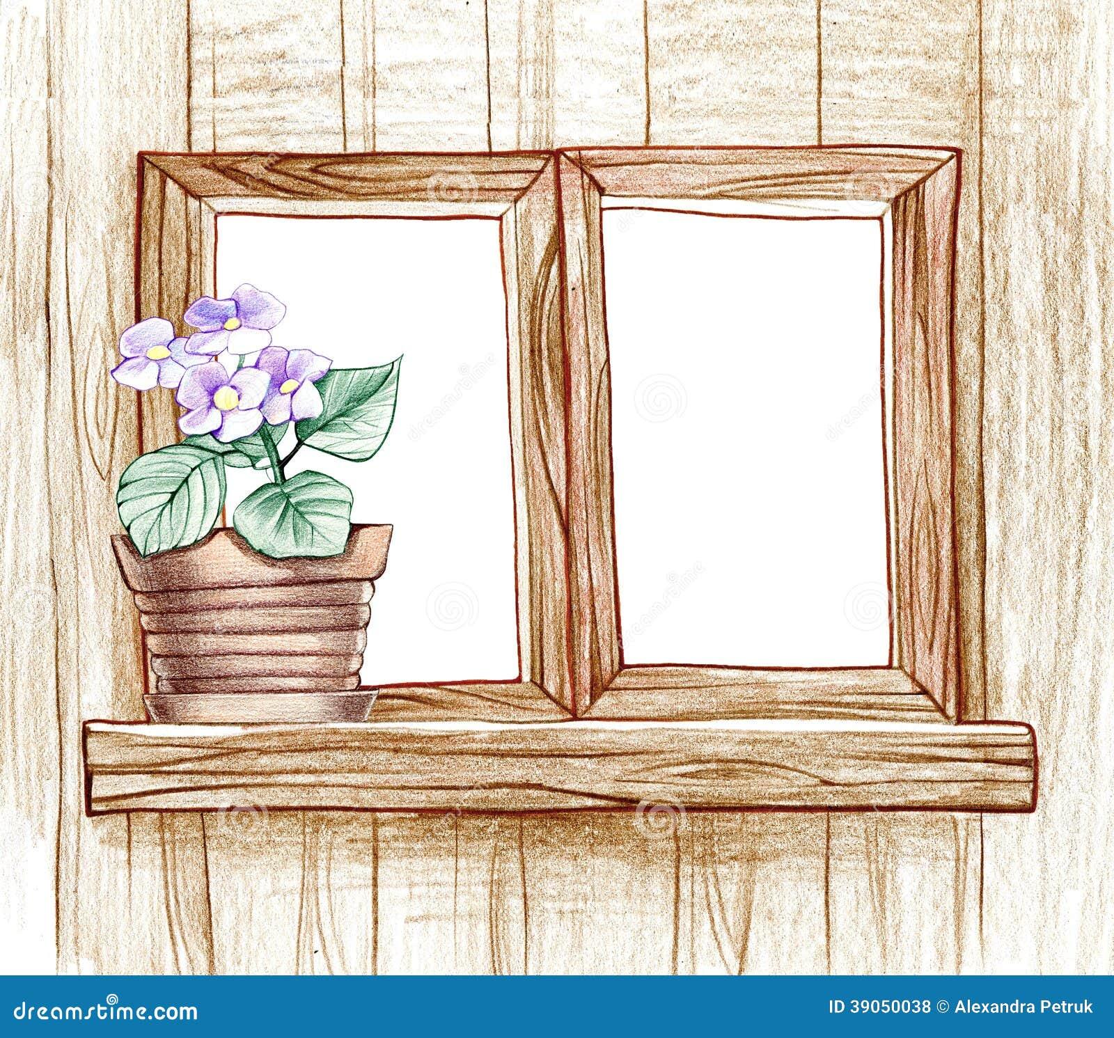 finestra con i vasi da fiori illustrazione di stock ForFinestra Con Fiori Disegno