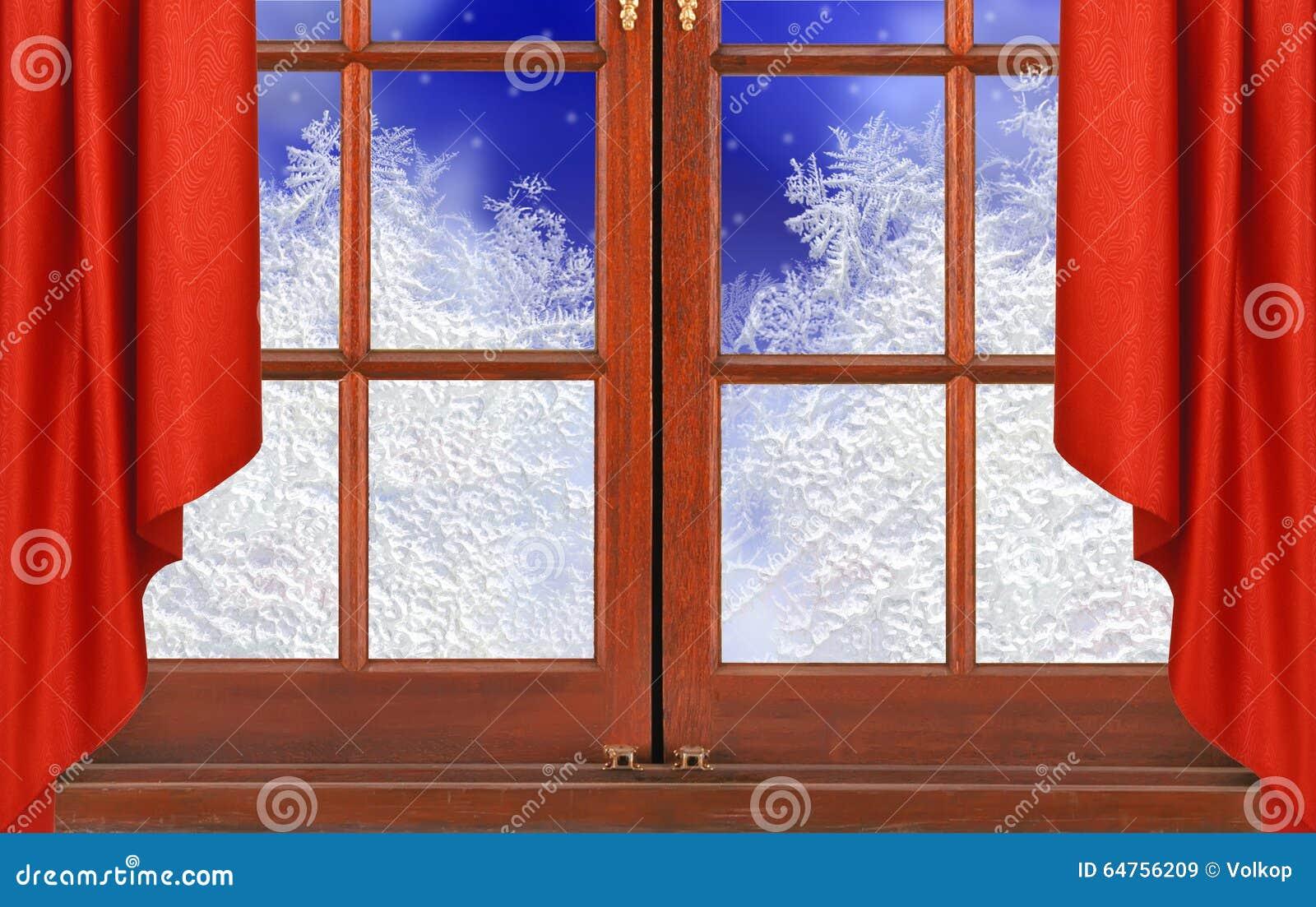 Finestra con la natura della neve di notte e del gelo for Piano del telaio della finestra