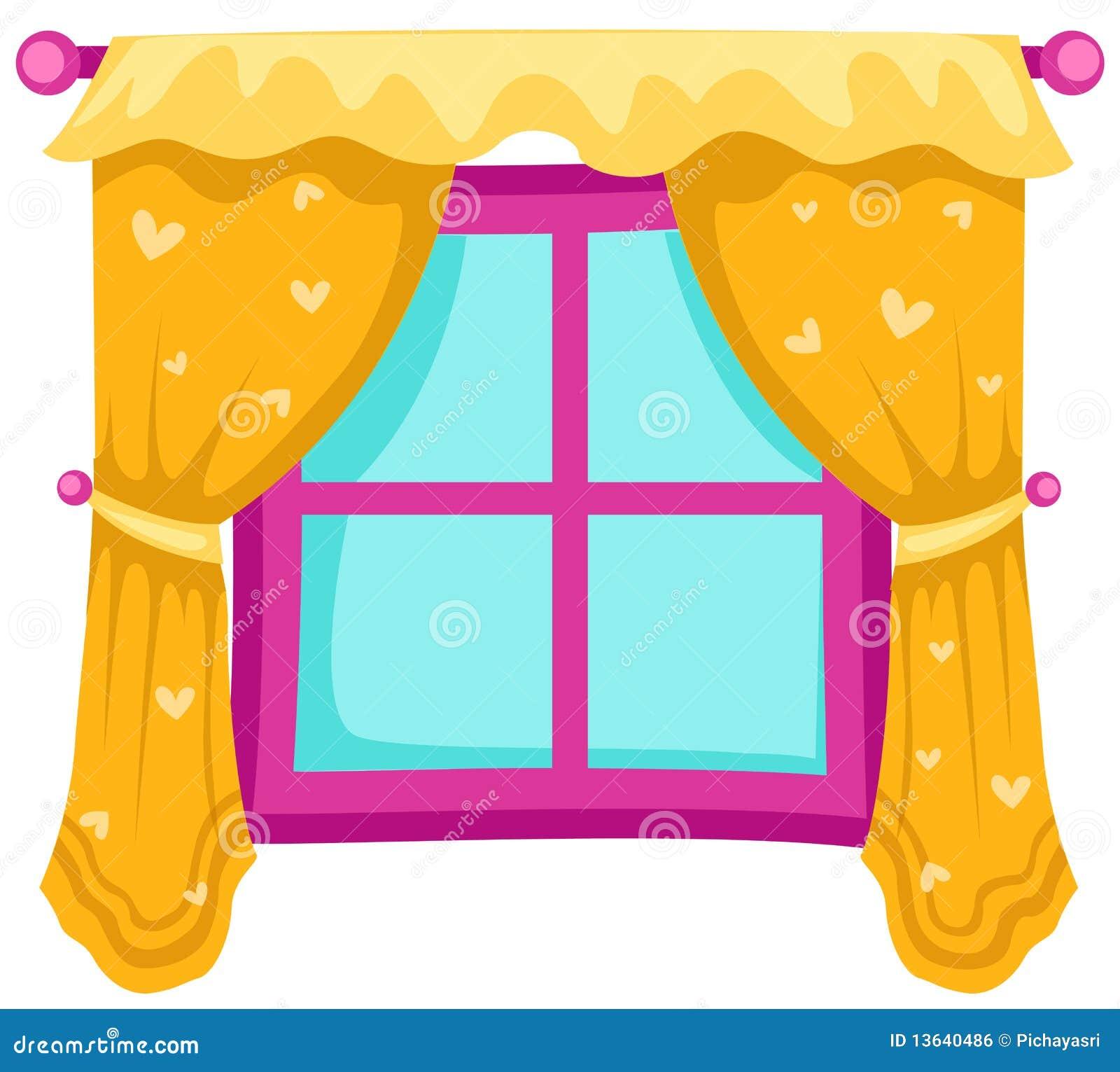 Finestra con le tende illustrazione vettoriale for Disegno di finestra aperta