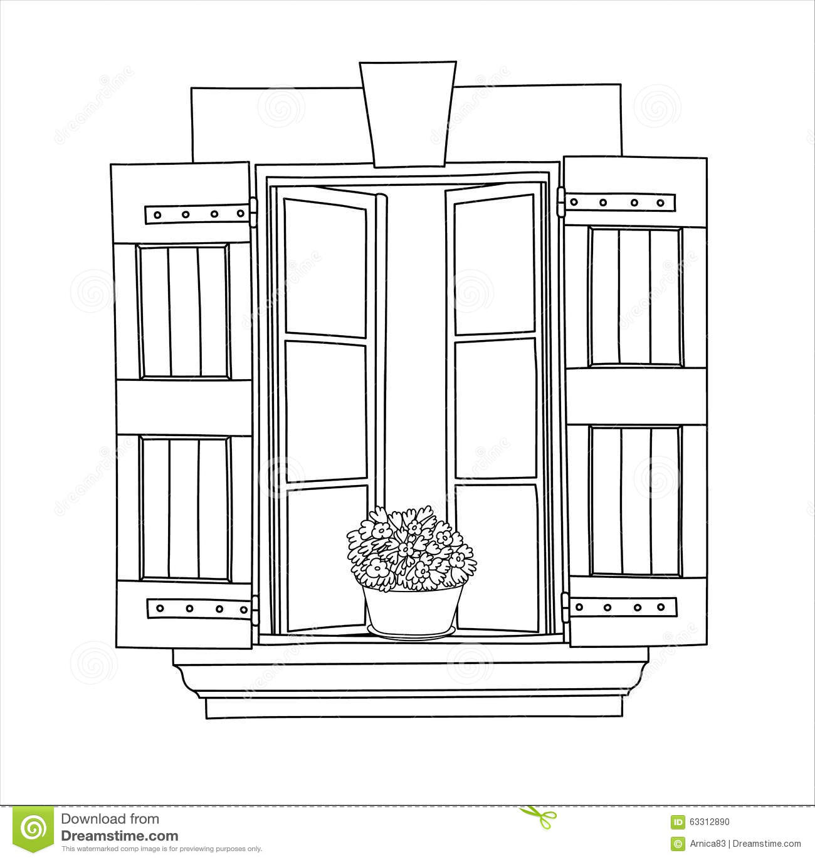 Finestra d 39 annata con i fiori di fioritura in vaso for Finestra con fiori disegno