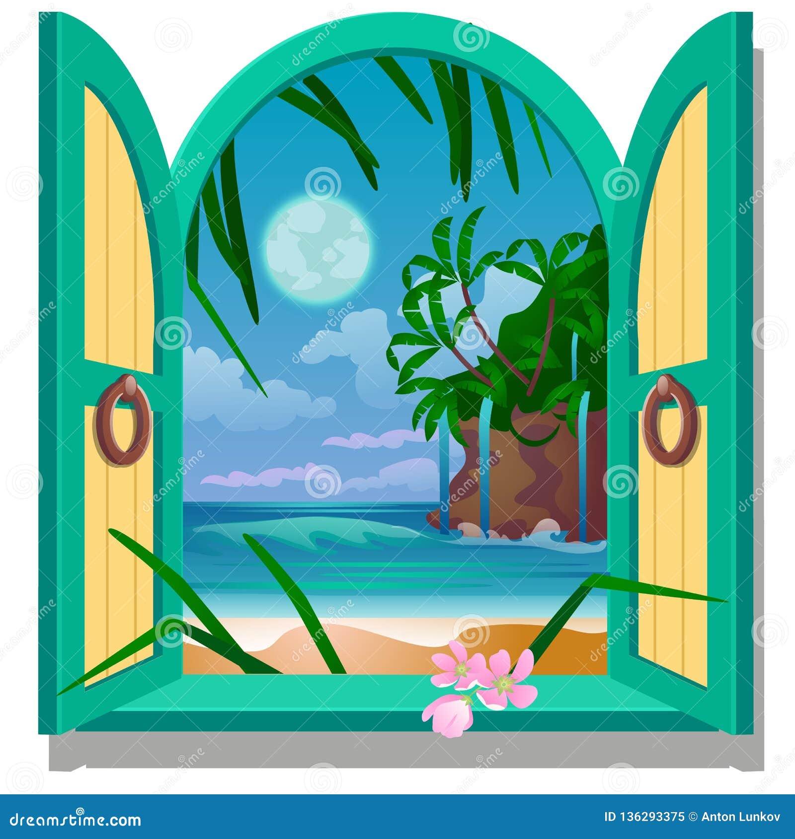 Finestra della struttura aperta con una vista della spiaggia sabbiosa della costa di mare da luce della luna Illustrazione del fu