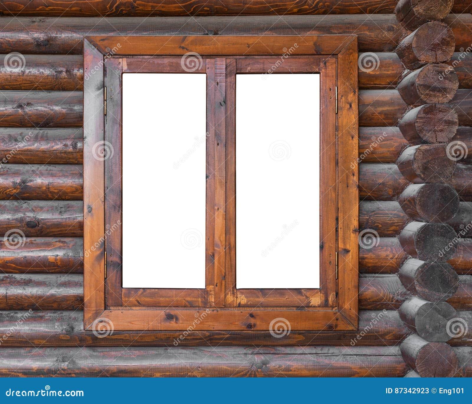Finestra di legno in una parete del ceppo immagine stock for Finestra legno bianco
