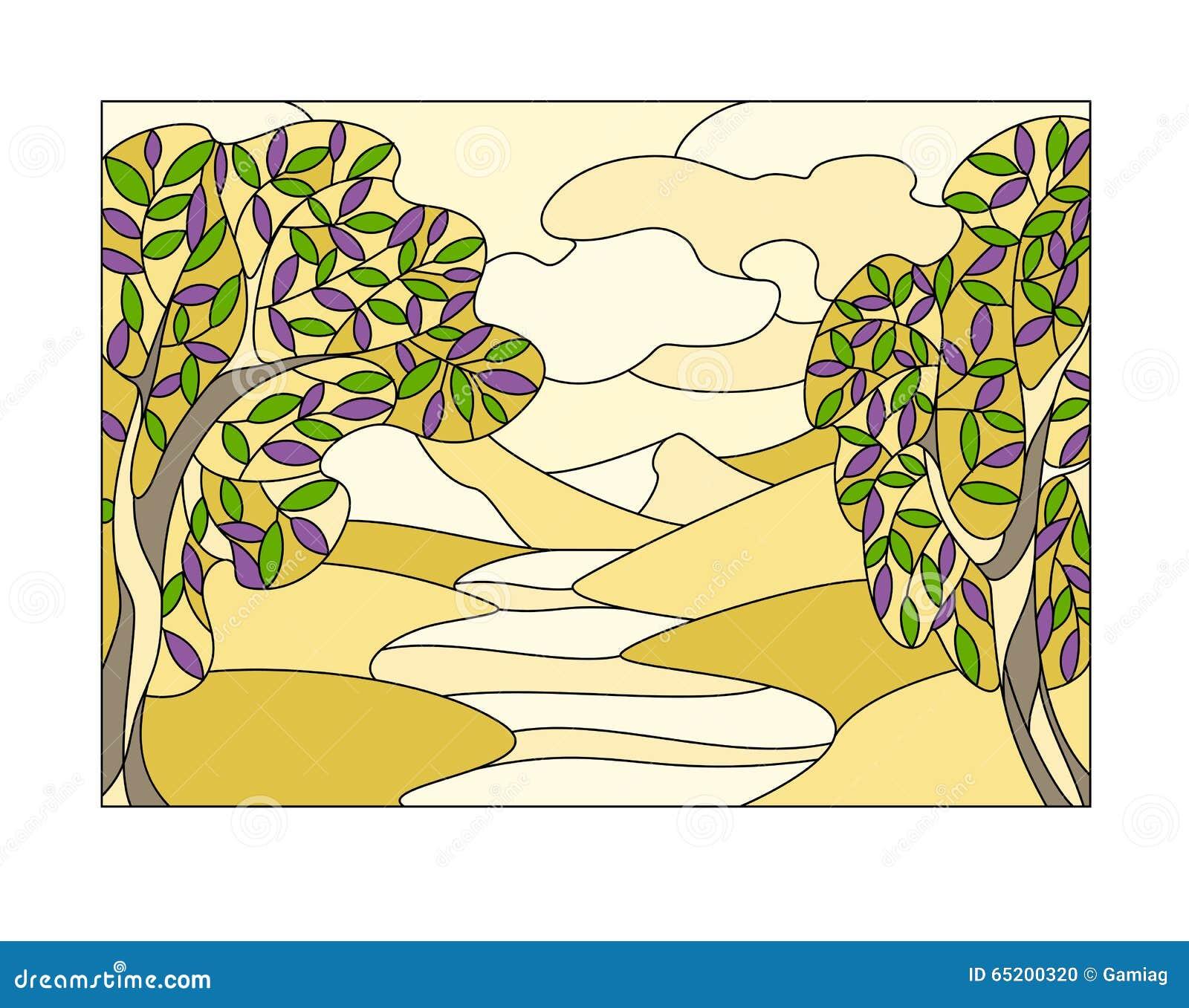 finestra di vetro macchiato con il paesaggio illustrazione On disegno paesaggio finestra